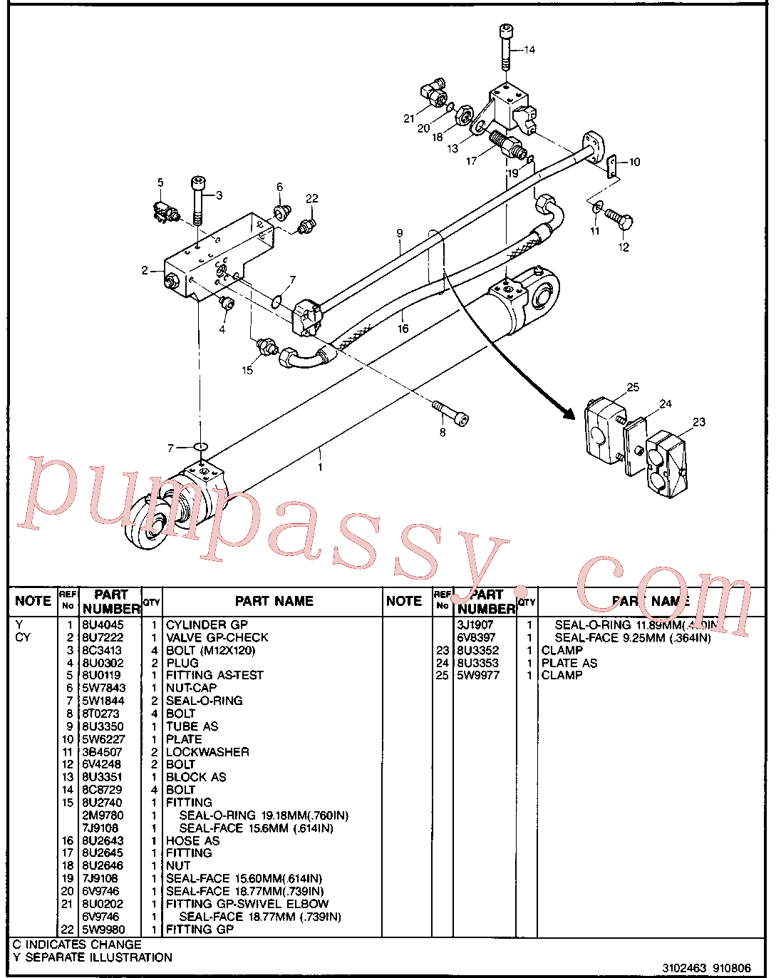CAT 8C-8729 for 160M 2 Motor Grader(MG) hydraulic system 8U-3347 Assembly