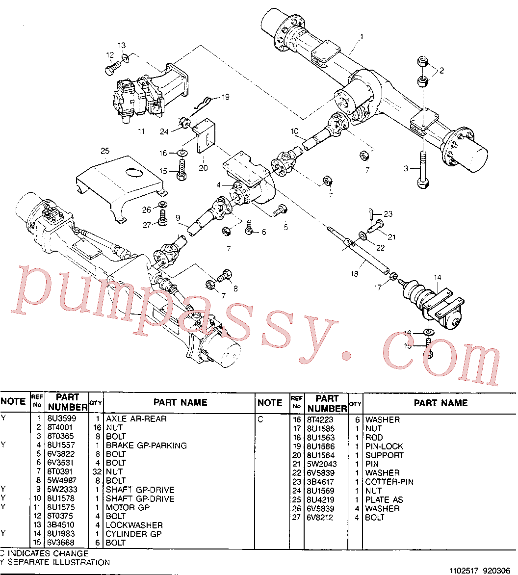 CAT 8U-2506 for M316D Wheeled Excavator(WHEX) chassis & undercarriage 8U-1530 Assembly