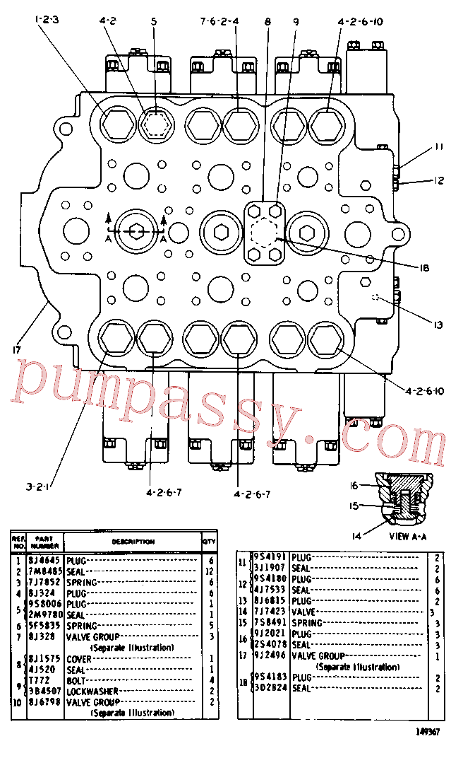 CAT 8J-0322 for 966D Wheel Loader(WTL) hydraulic system 8J-3887 Assembly