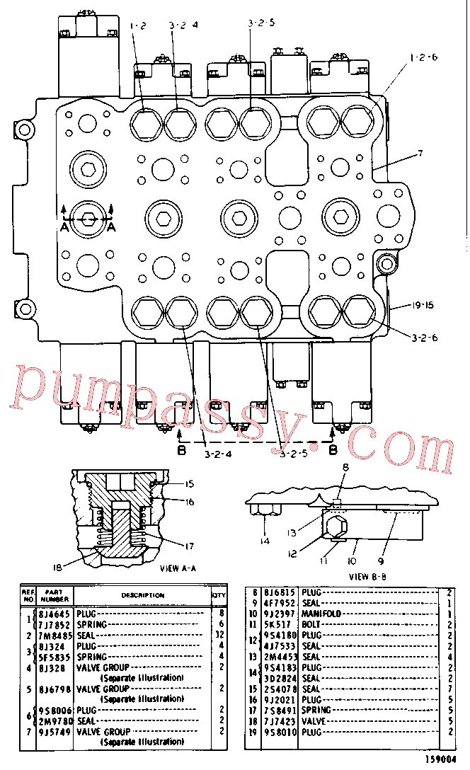 CAT 8J-0351 for 225 Excavator(EXC) hydraulic system 9J-9291 Assembly