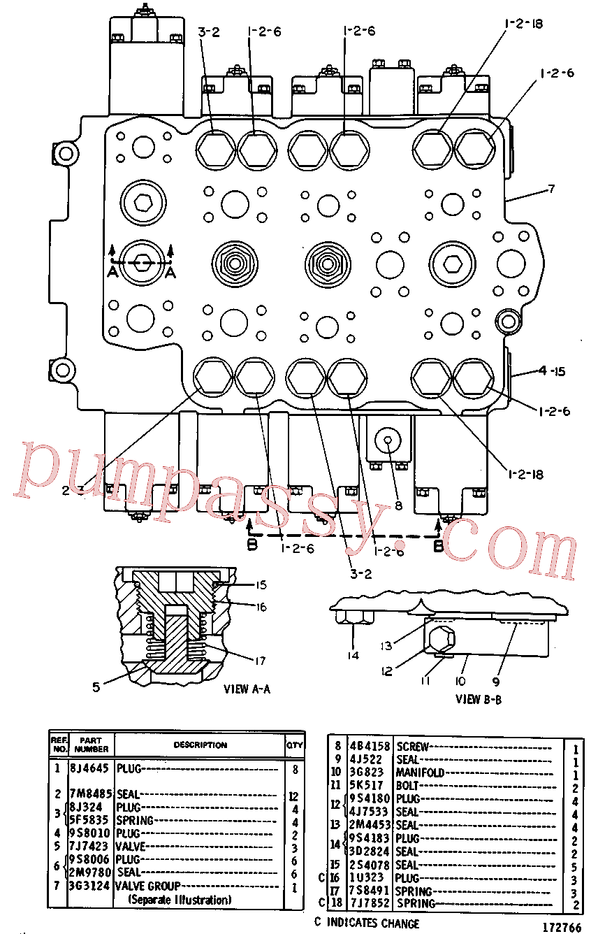 CAT 8J-9990 for 219 Excavator(EXC) hydraulic system 3G-3125 Assembly
