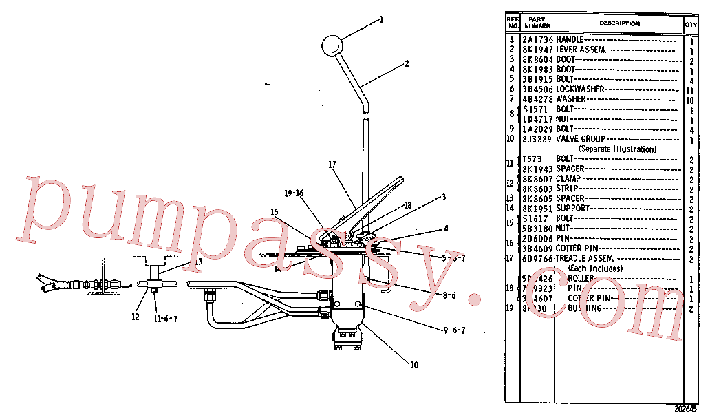 CAT 4M-6979 for 215B Excavator(EXC) hydraulic system 8K-3661 Assembly