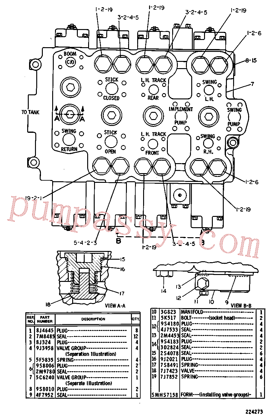 CAT 8J-0351 for 225B Excavator(EXC) hydraulic system 5C-6605 Assembly