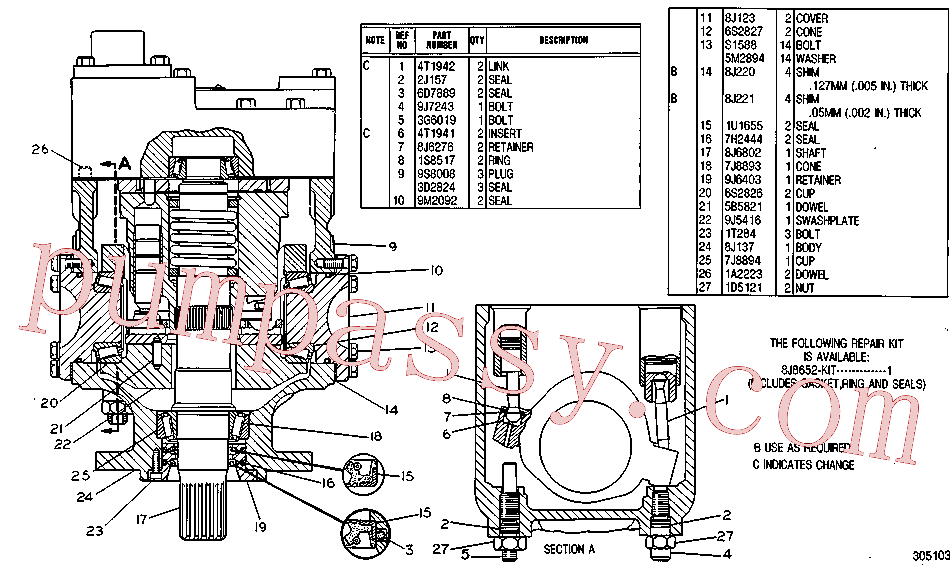 CAT 8J-3820 for 235B Excavator(EXC) hydraulic system 1U-4722 Assembly