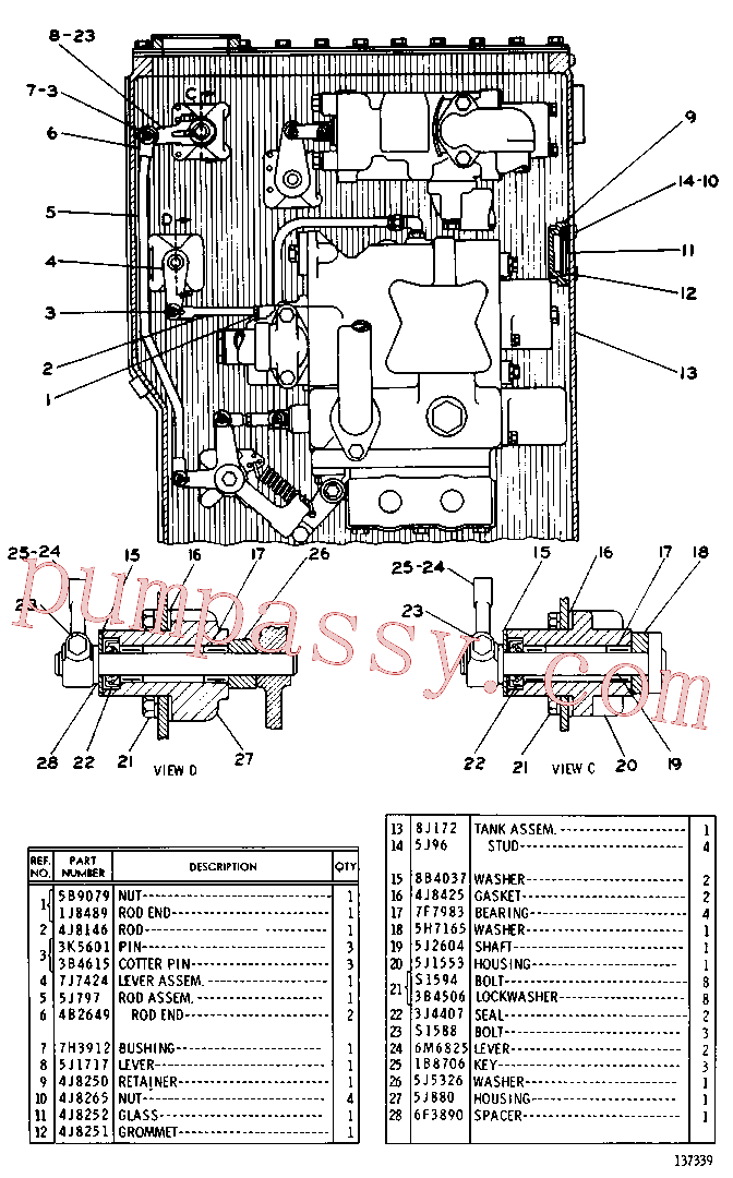 CAT 4F-7115 for 966R Wheel Loader(WTL) hydraulic system 8J-0173 Assembly
