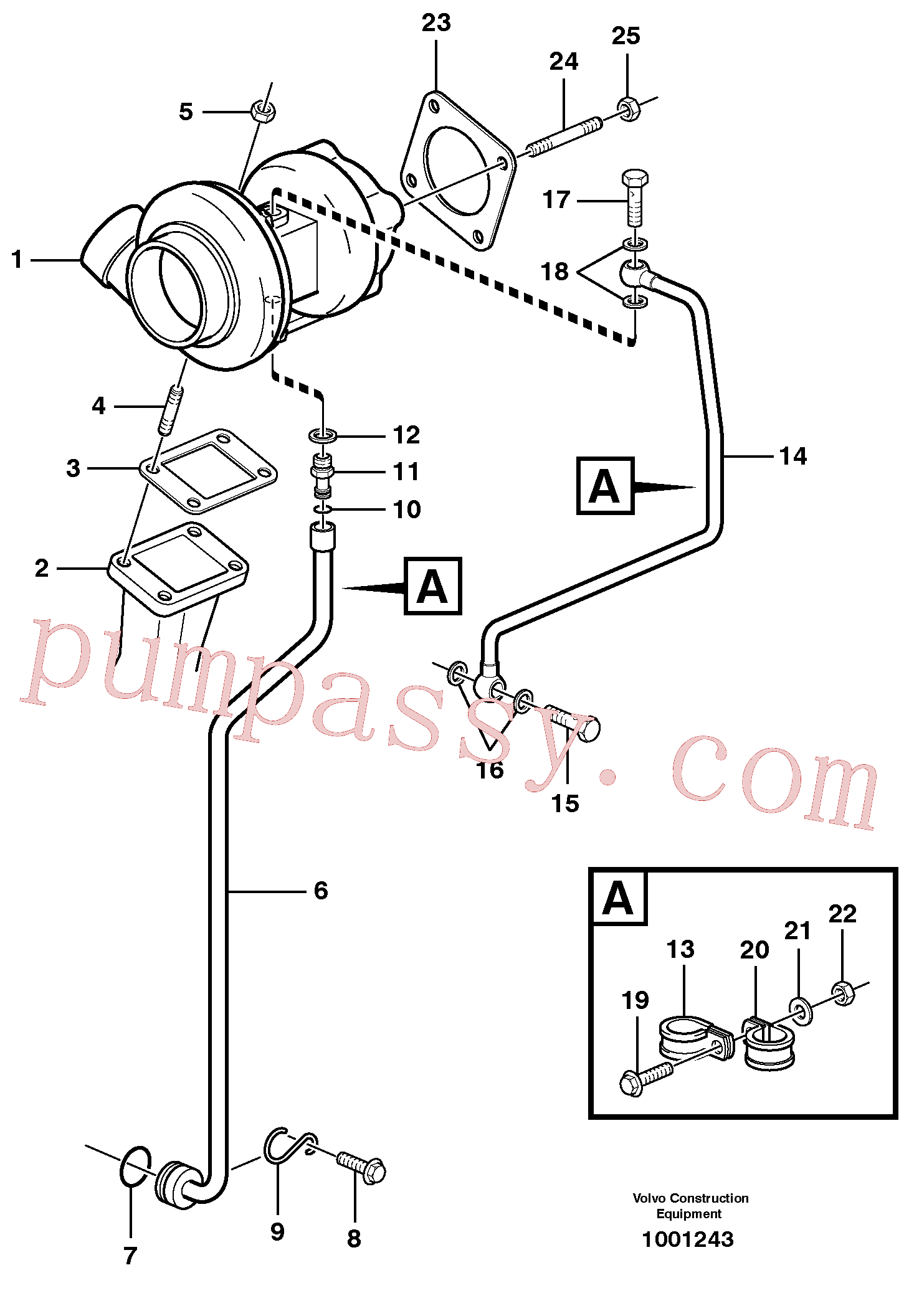 VOE20460939 for Volvo Turbocharger with fitting parts(1001243 assembly)