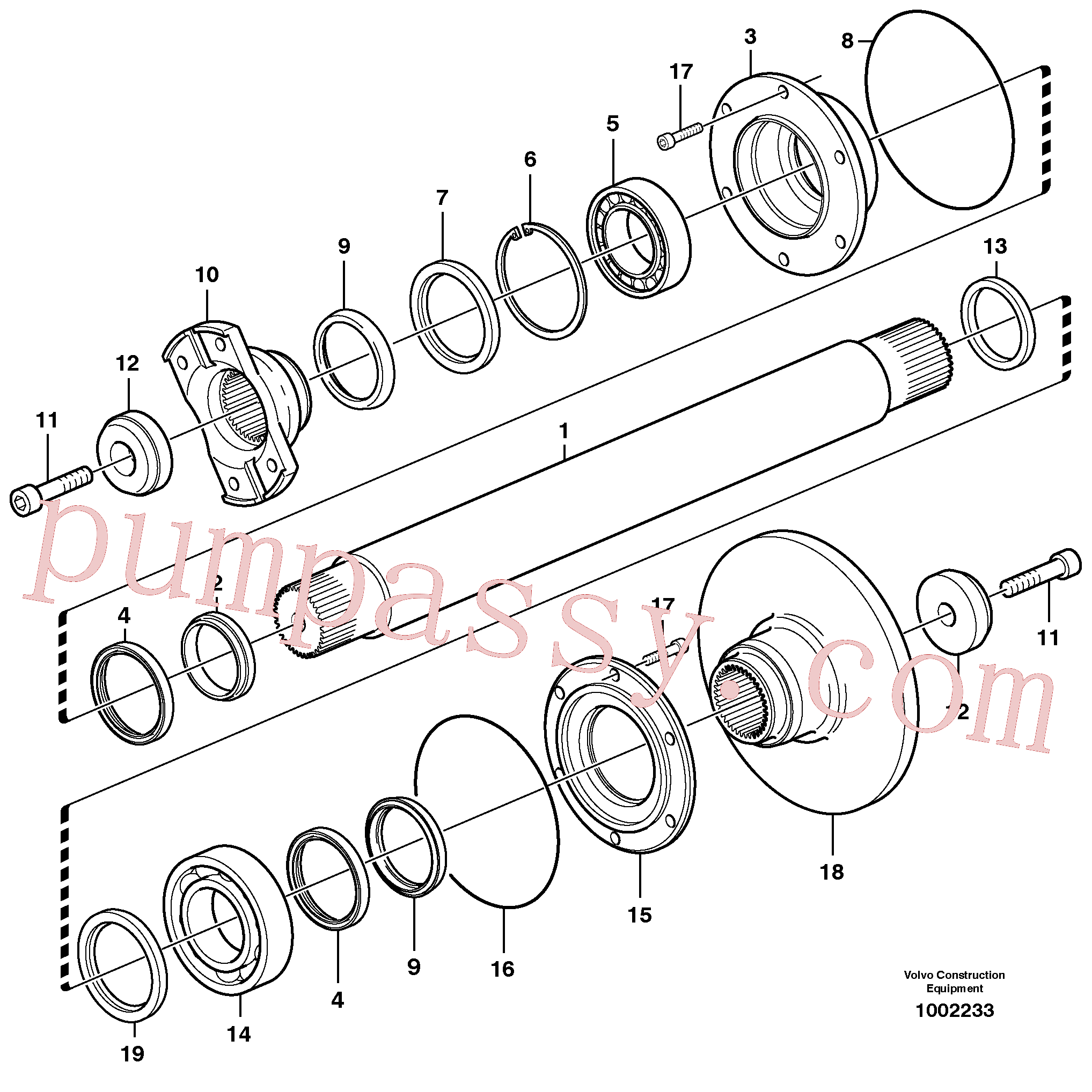 VOE11116852 for Volvo Intermediate shaft(1002233 assembly)