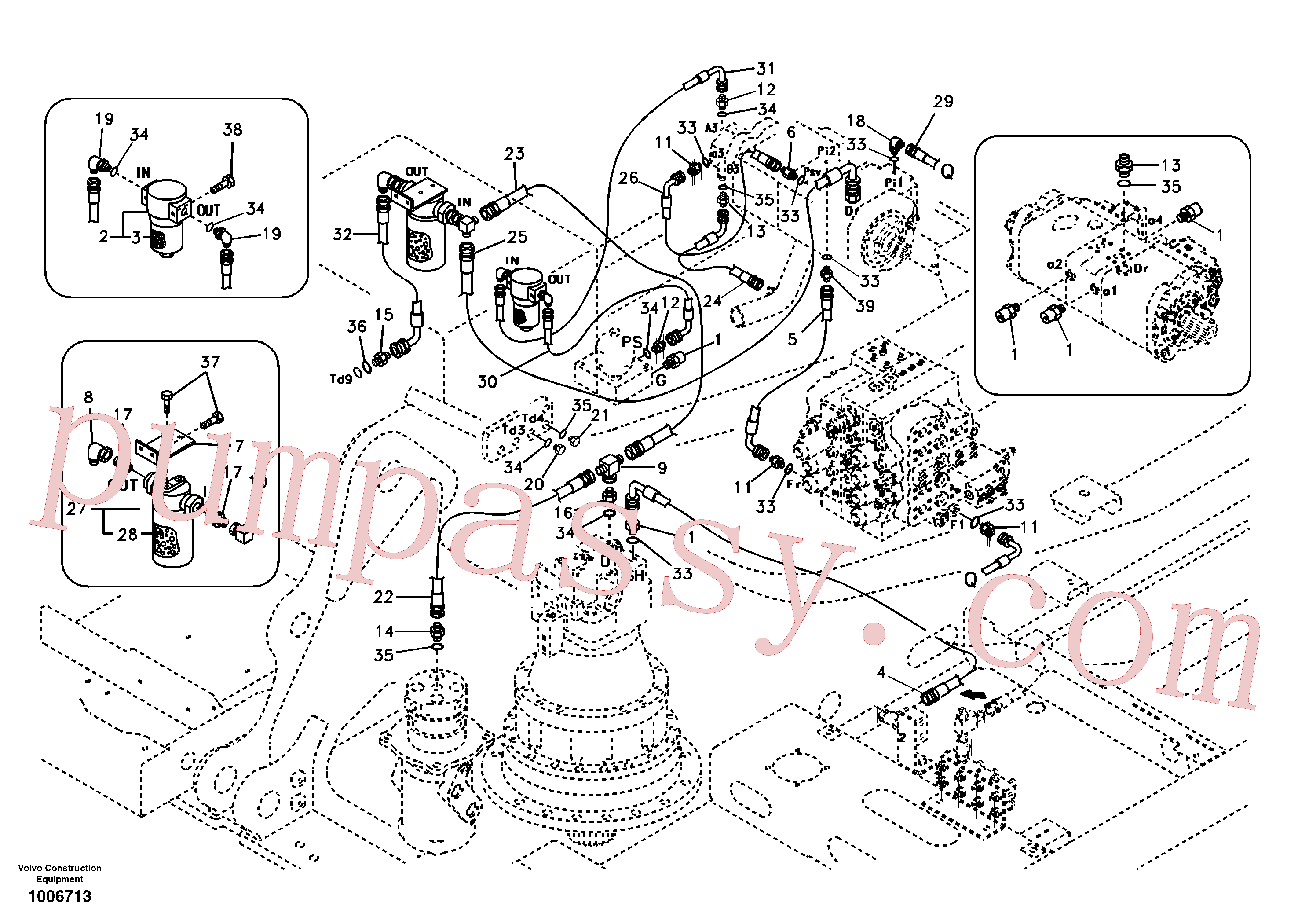 SA9451-05246 for Volvo Servo system, pump piping and filter mount.(1006713 assembly)