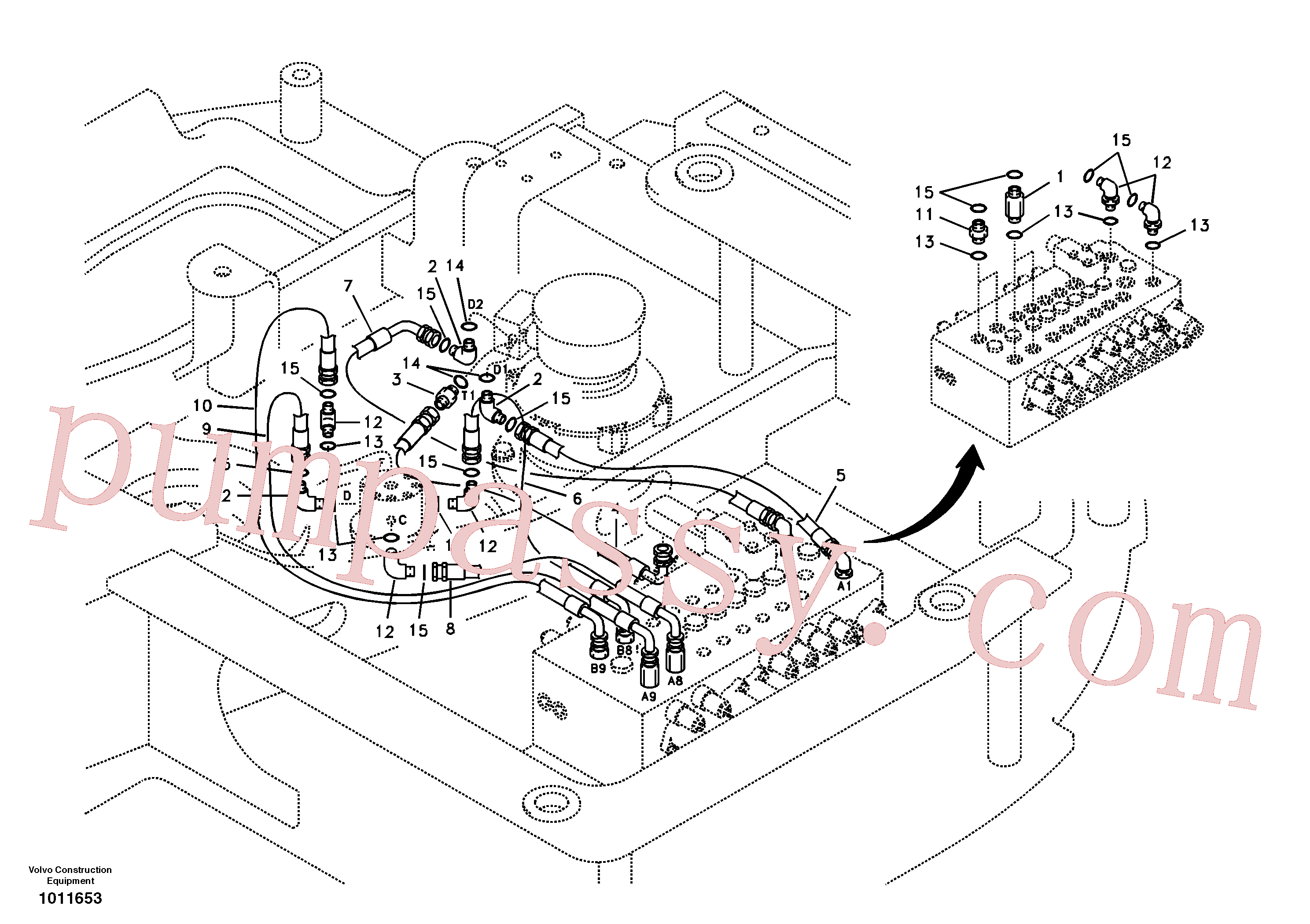 VOE14880830 for Volvo Turning joint line, control valve to turning joint(1011653 assembly)