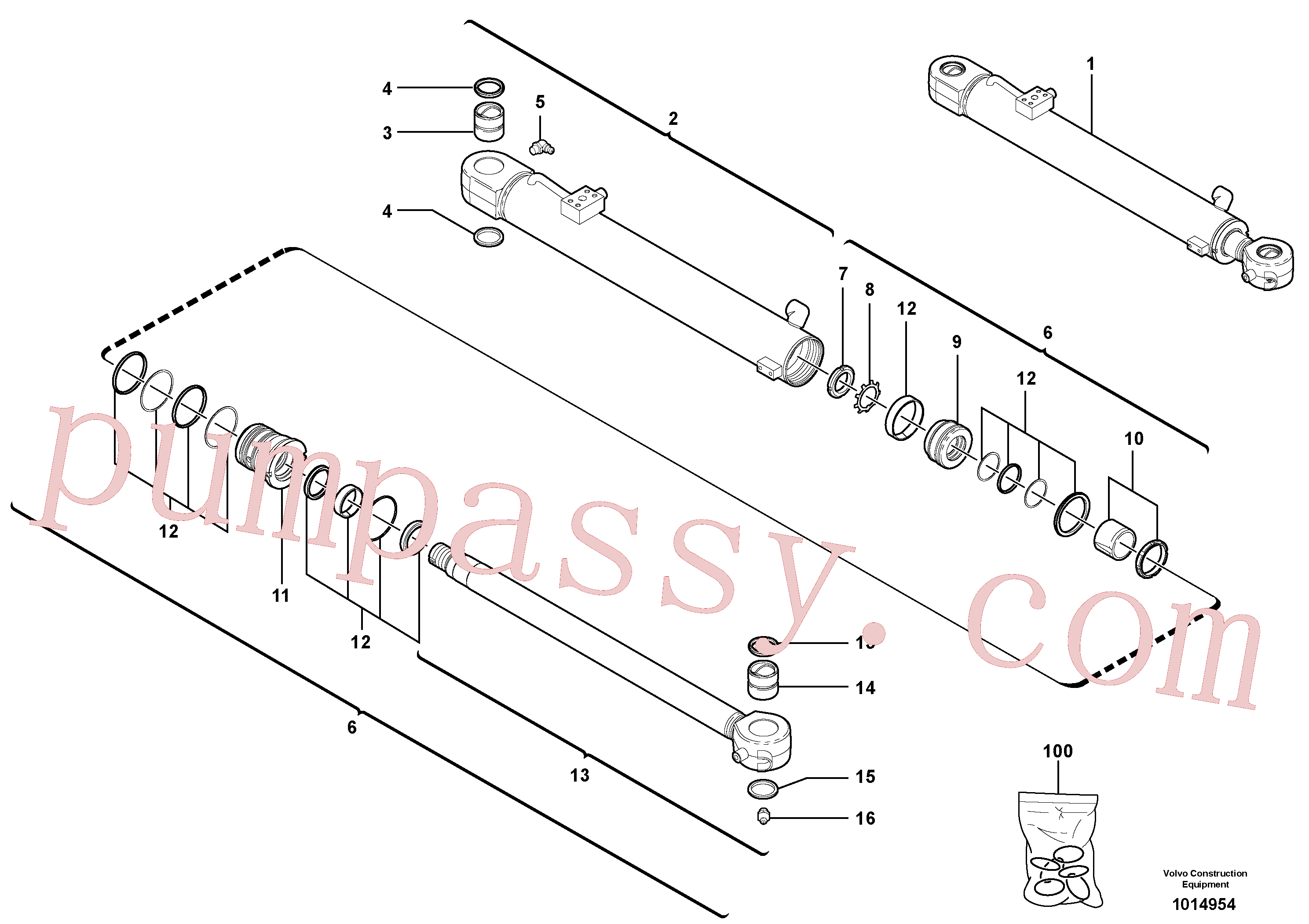 VOE11988921 for Volvo Boom cylinder(1014954 assembly)