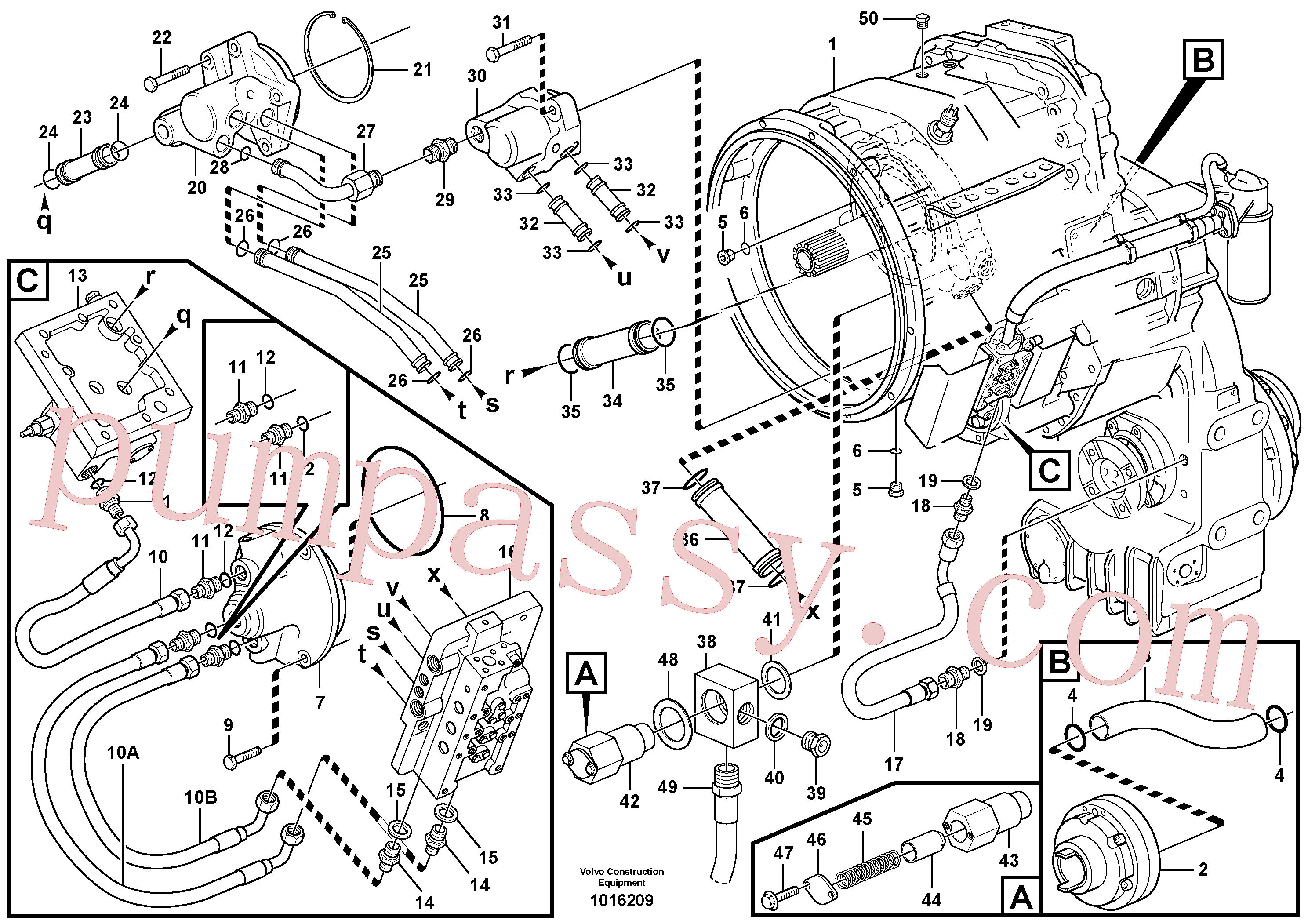 VOE14266162 for Volvo Oil distributor and tube(1016209 assembly)