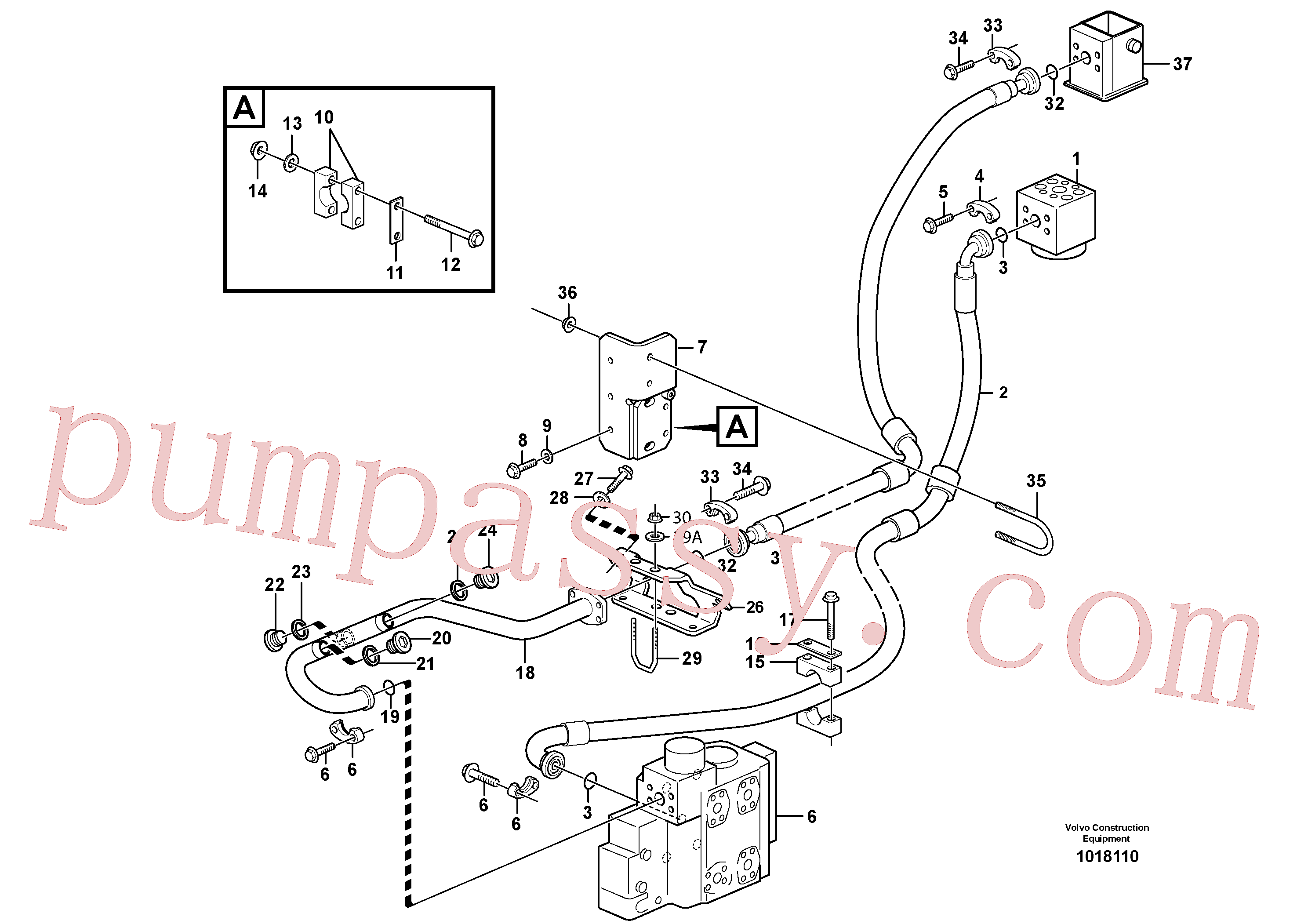VOE990757 for Volvo Feed- and return lines - control valve(1018110 assembly)