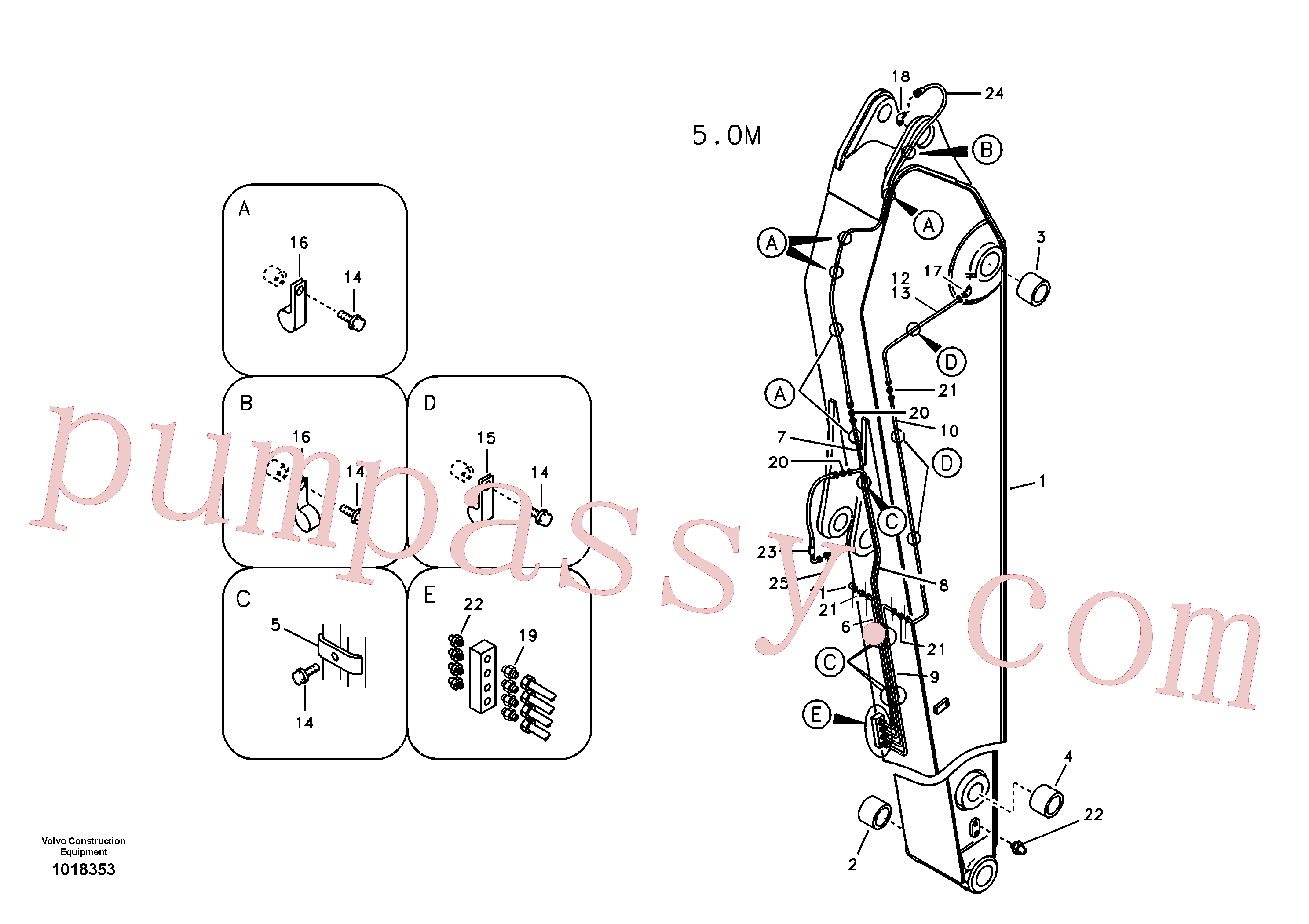 VOE14562412 for Volvo Dipper arm and grease piping with piping seat, long reach(1018353 assembly)