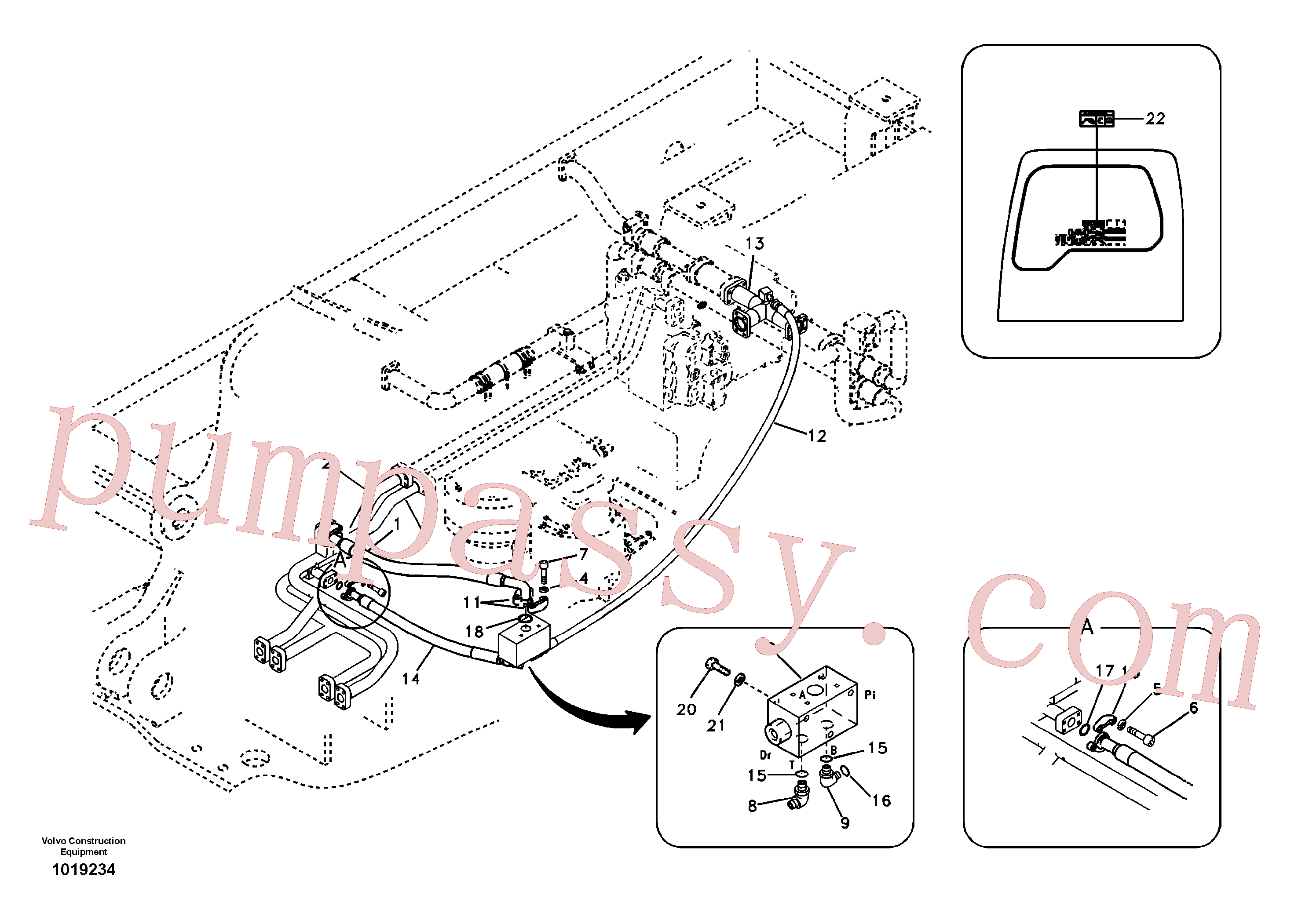 SA9451-05246 for Volvo Hydraulic system, control valve to boom and swing(1019234 assembly)