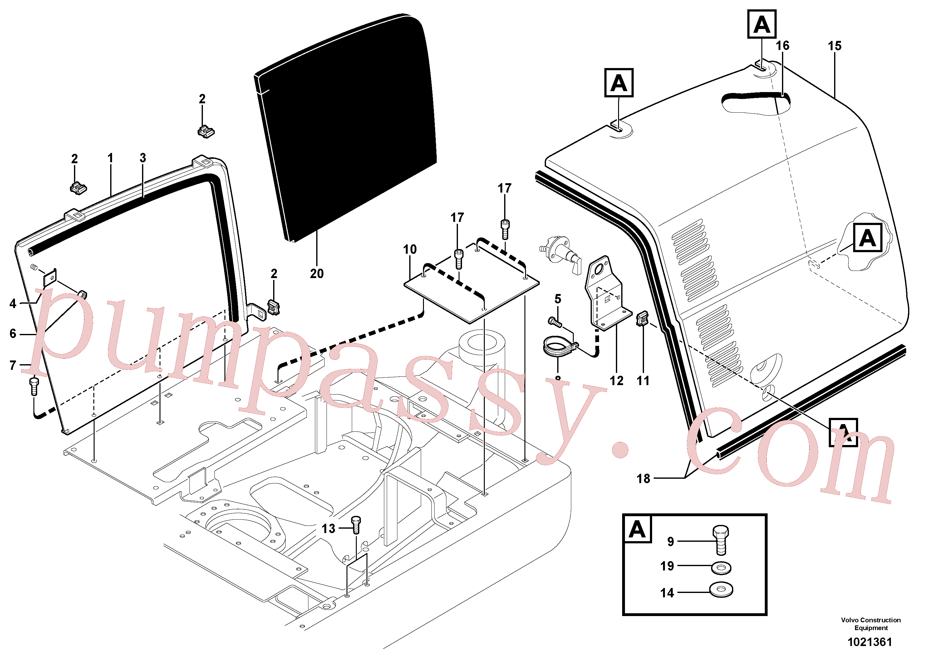 PJ4380037 for Volvo Right coverage(1021361 assembly)