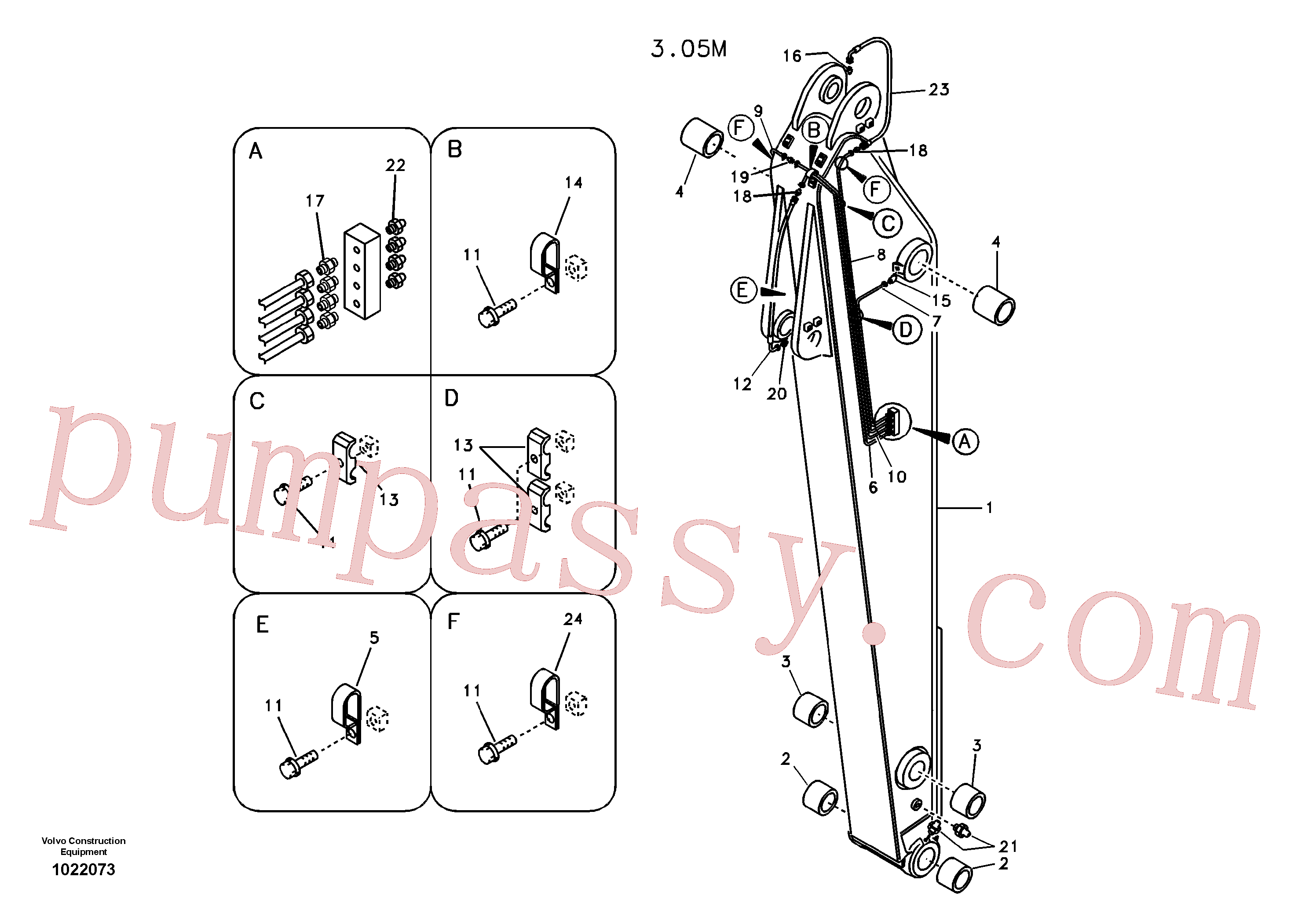 VOE14531985 for Volvo Dipper arm and grease piping with piping seat(1022073 assembly)