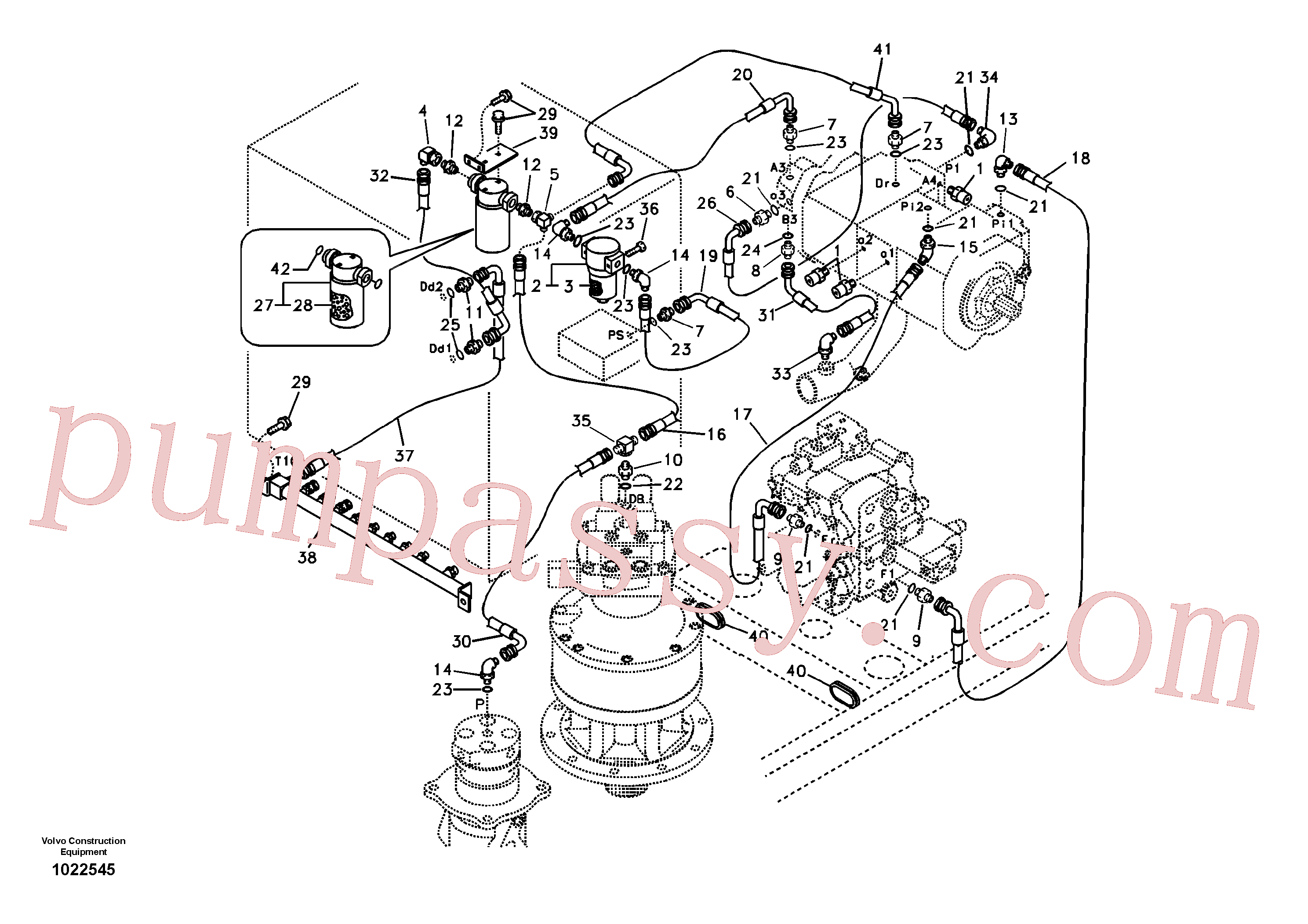SA9411-95350 for Volvo Servo system, pump piping and filter mount.(1022545 assembly)