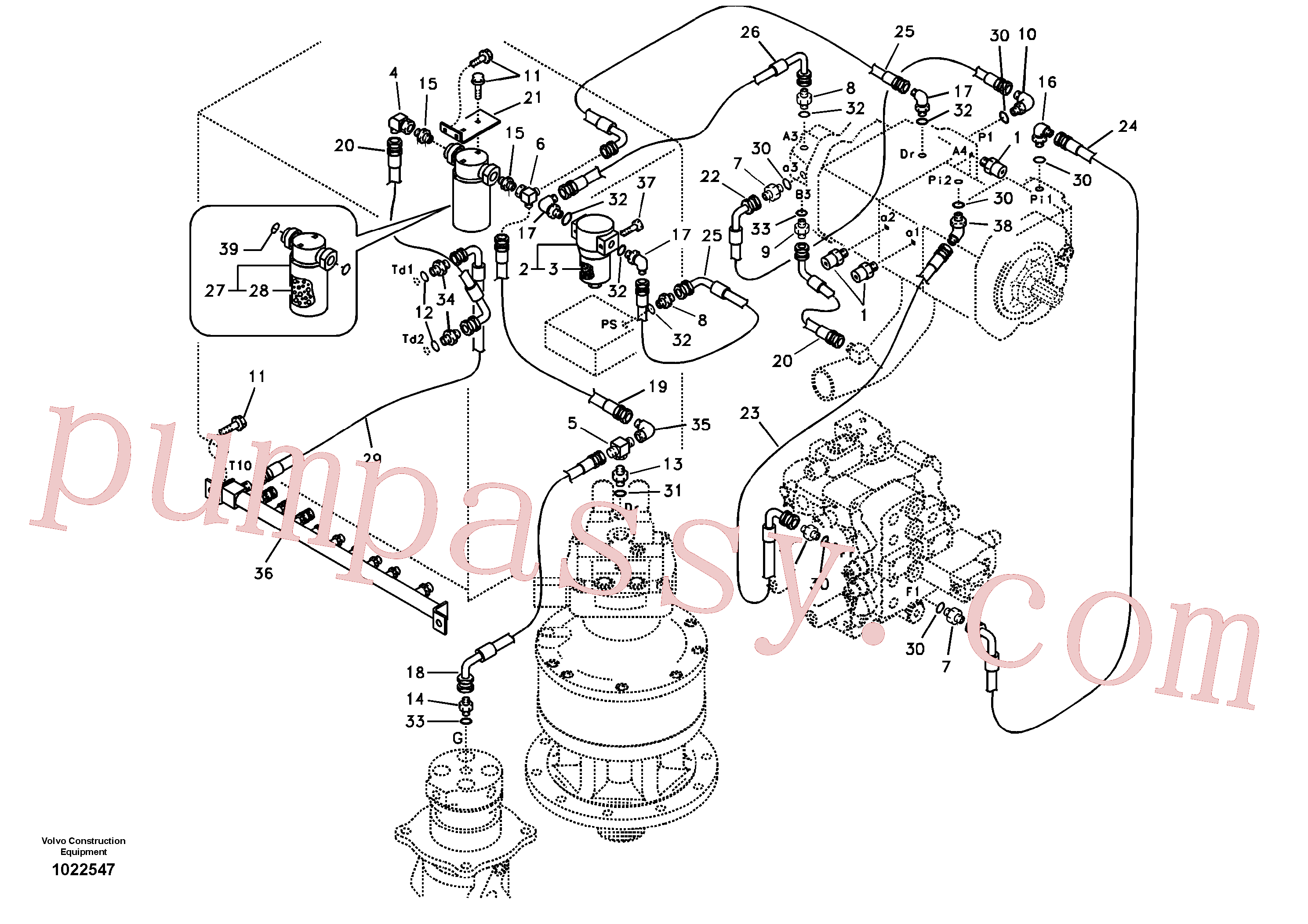SA9411-95350 for Volvo Servo system, pump piping and filter mount.(1022547 assembly)