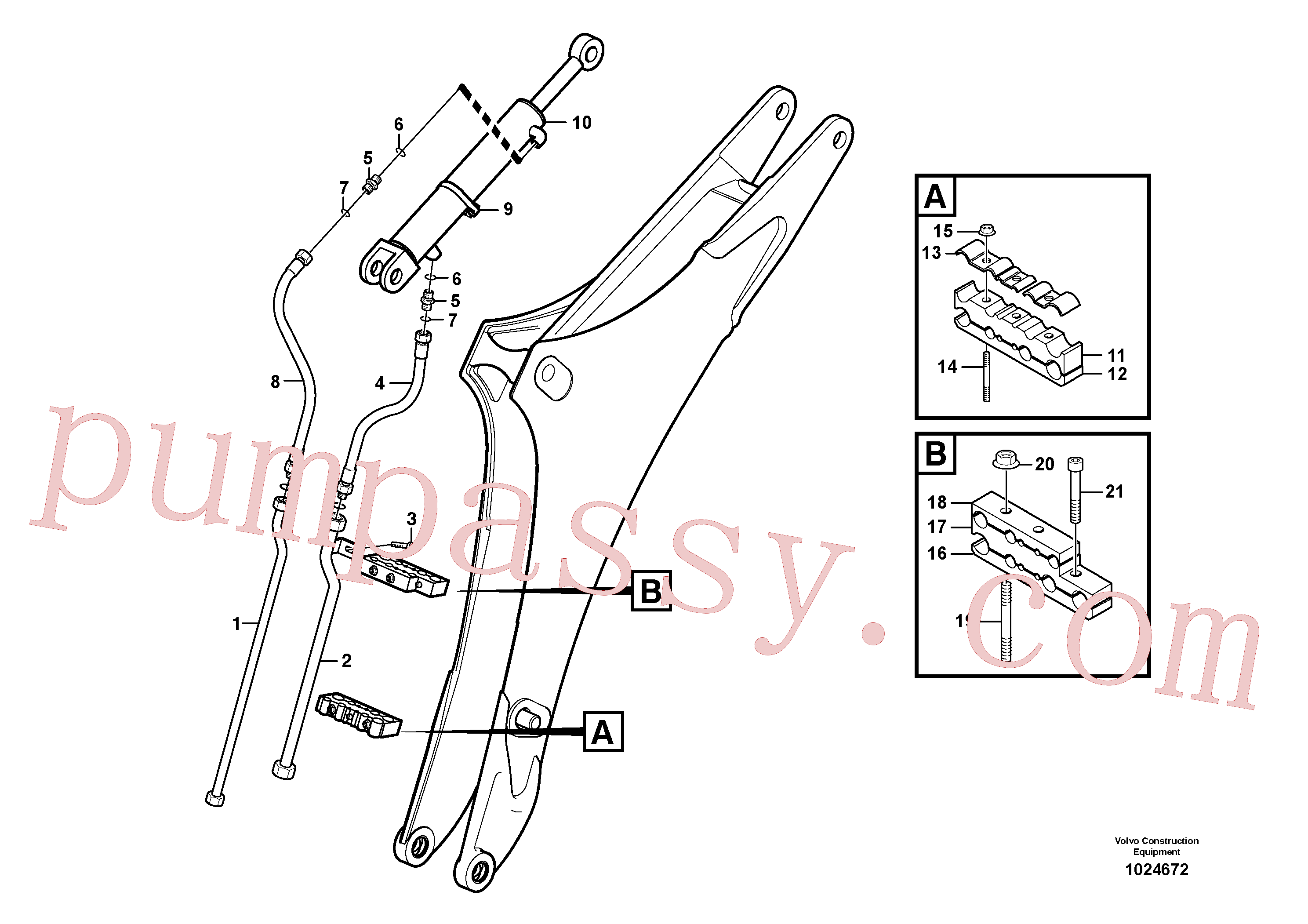 VOE11888543 for Volvo Hydraulic system dipper arm(1024672 assembly)