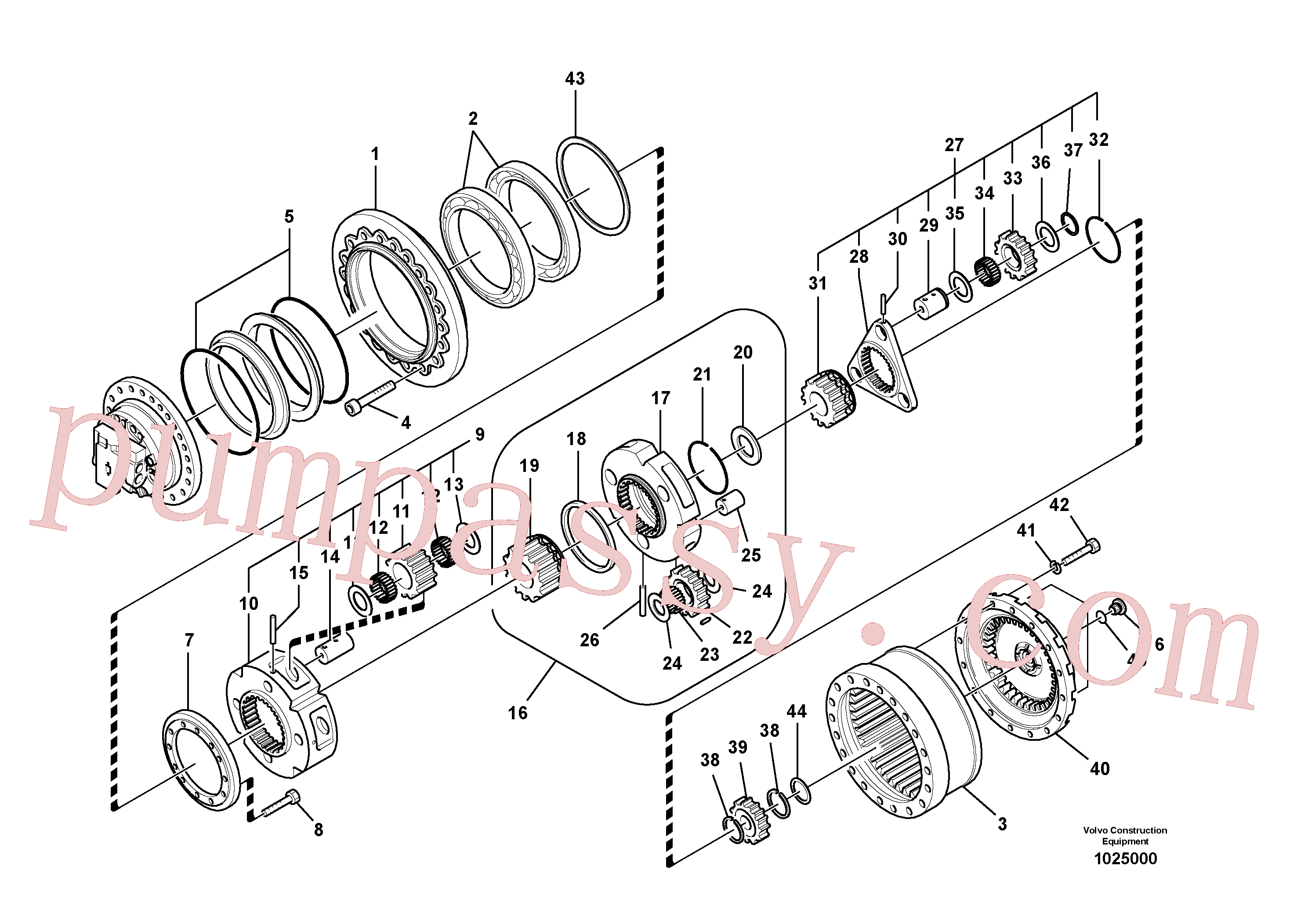 SA1036-00460 for Volvo Travel gearbox(1025000 assembly)