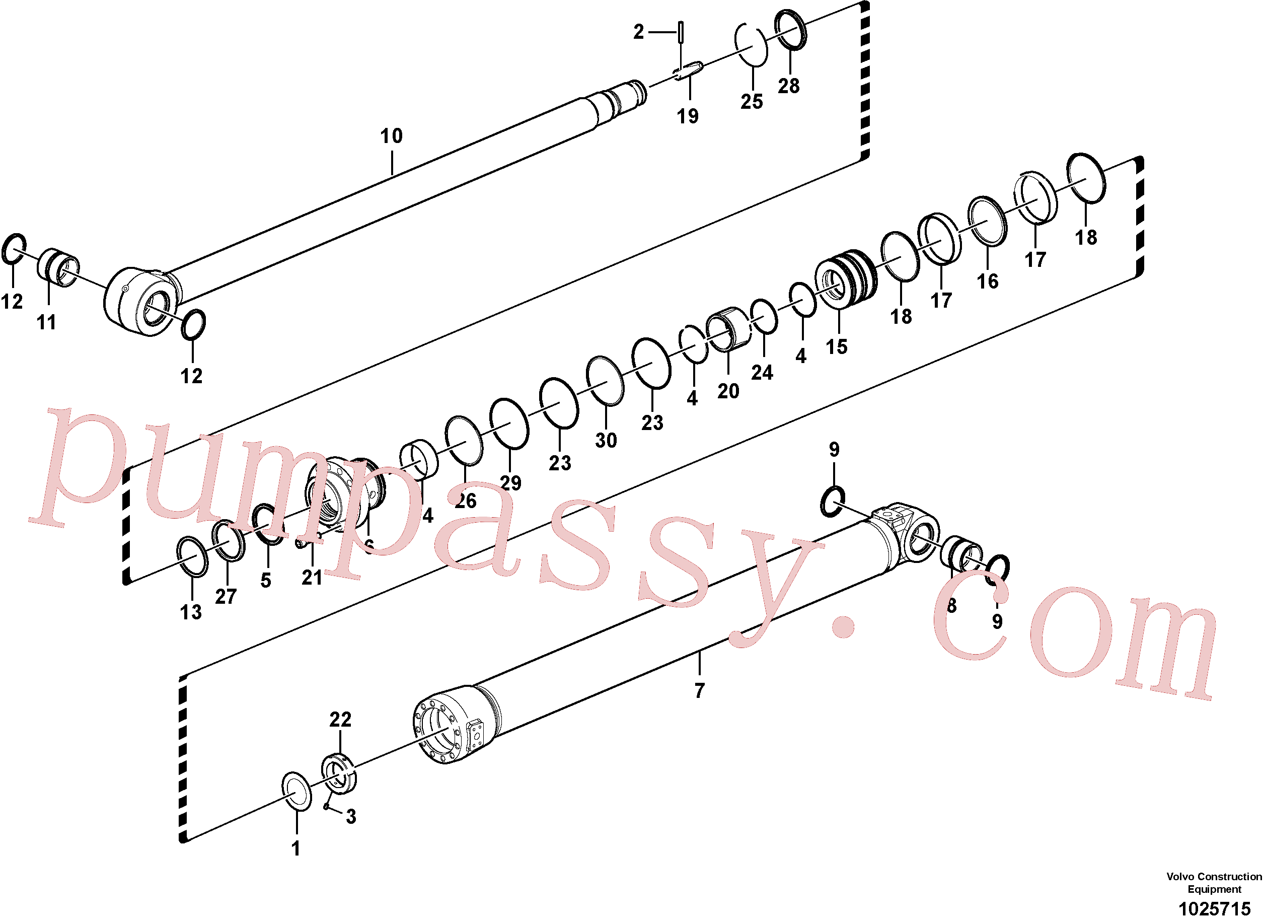 SA1146-03170 for Volvo Dipper arm cylinder(1025715 assembly)