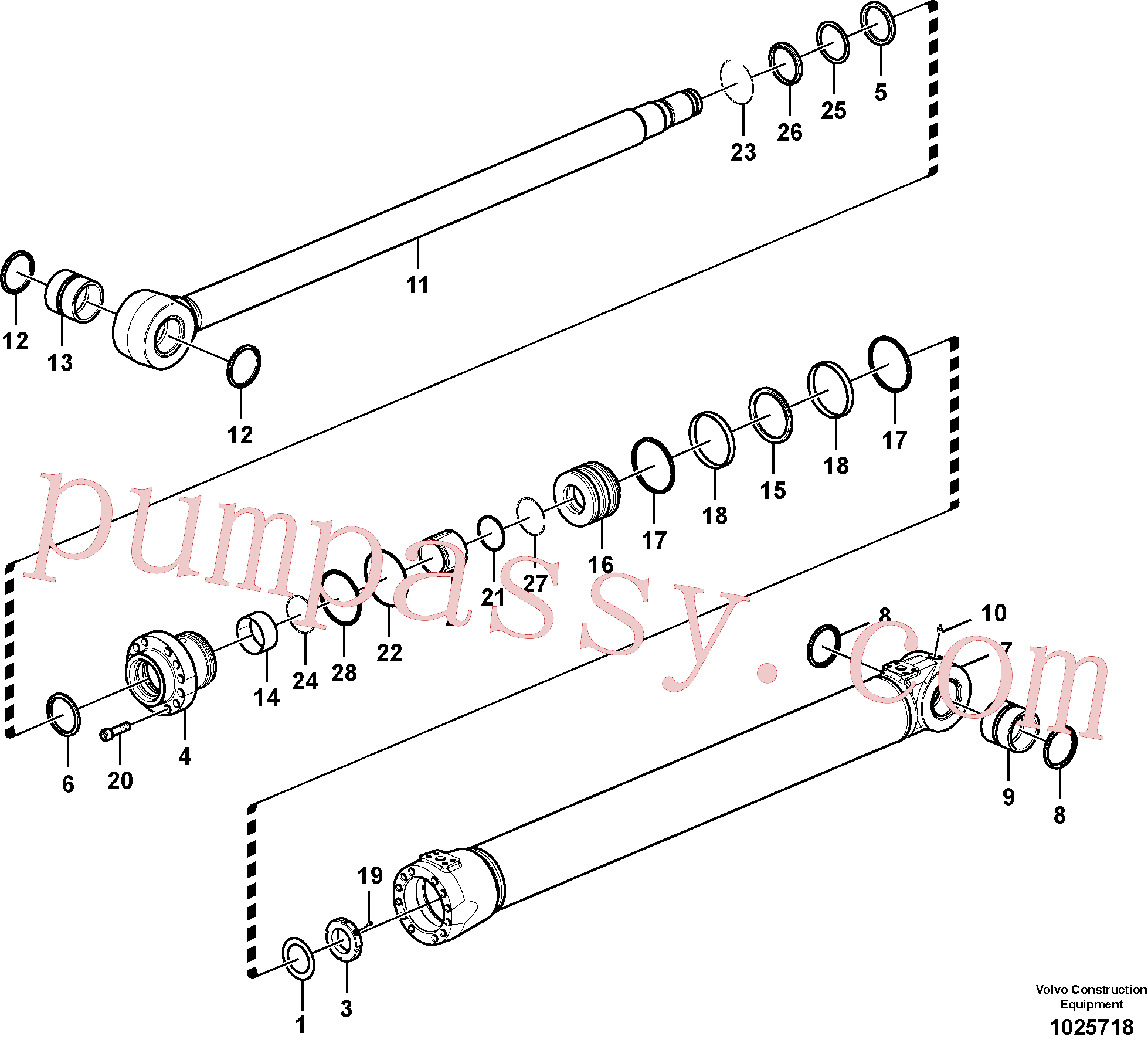 SA1146-03170 for Volvo Boom cylinder, Boom and arm cylinder(1025718 assembly)