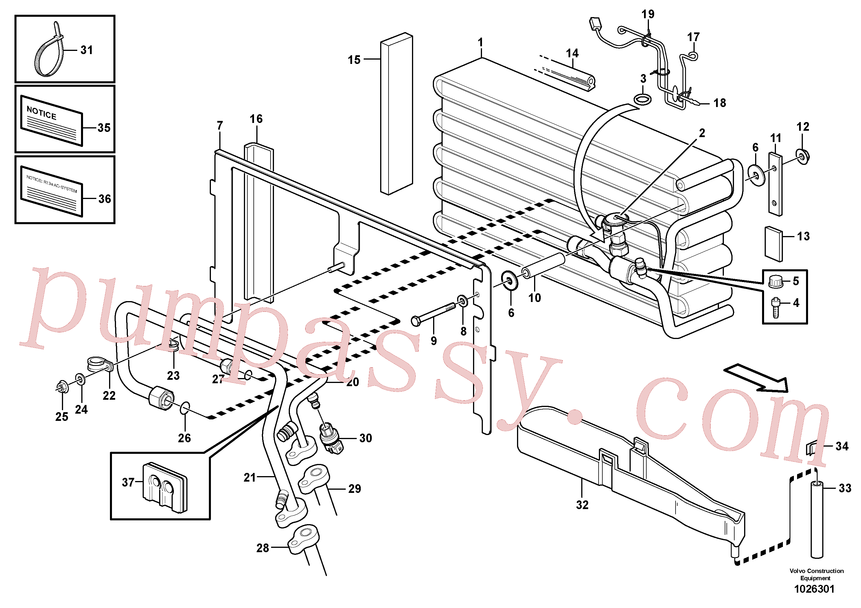 VOE952630 for Volvo Evaporator for cooling agent R134a with fitting parts.(1026301 assembly)