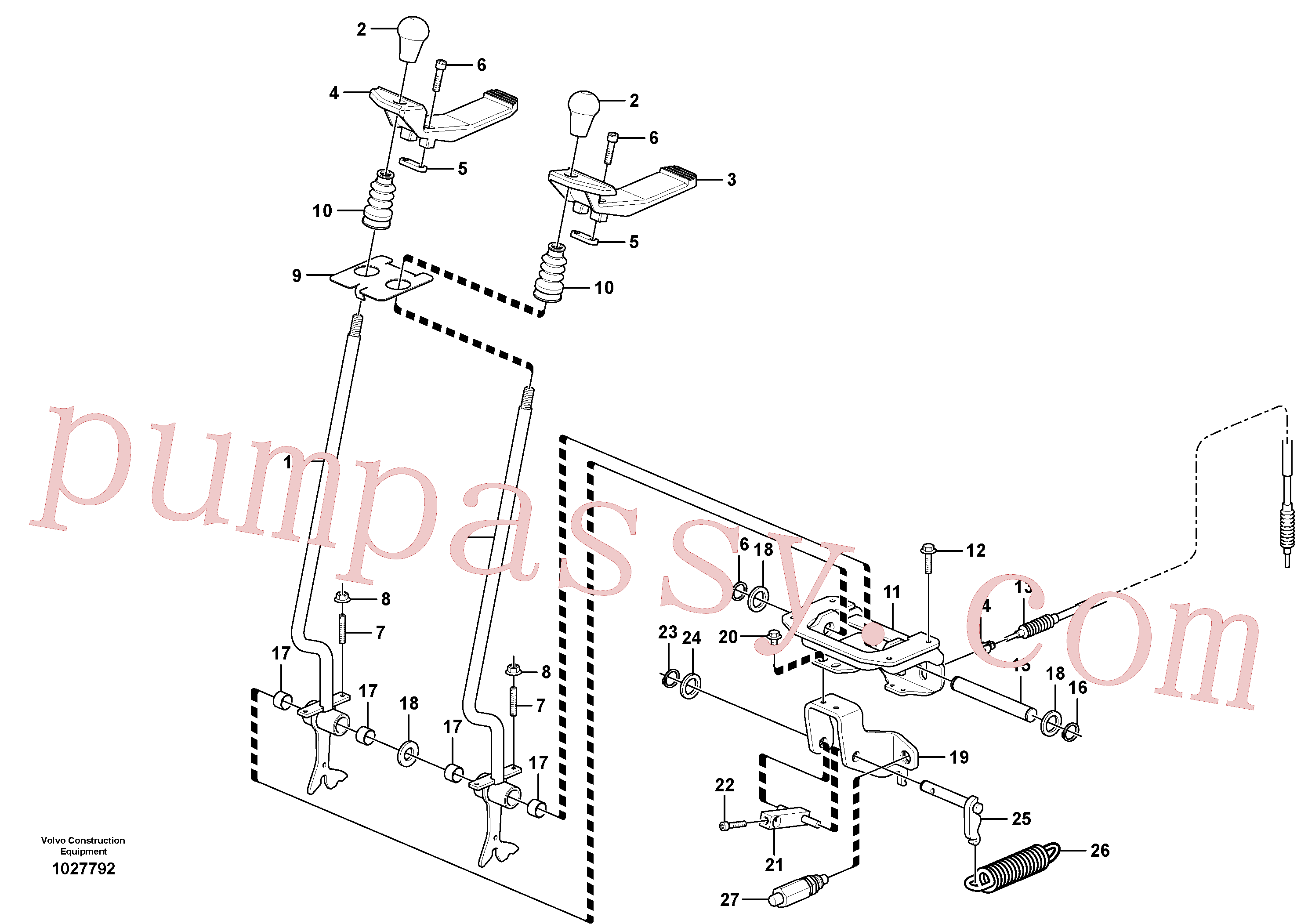 VOE11802173 for Volvo Control levers : travelling(1027792 assembly)