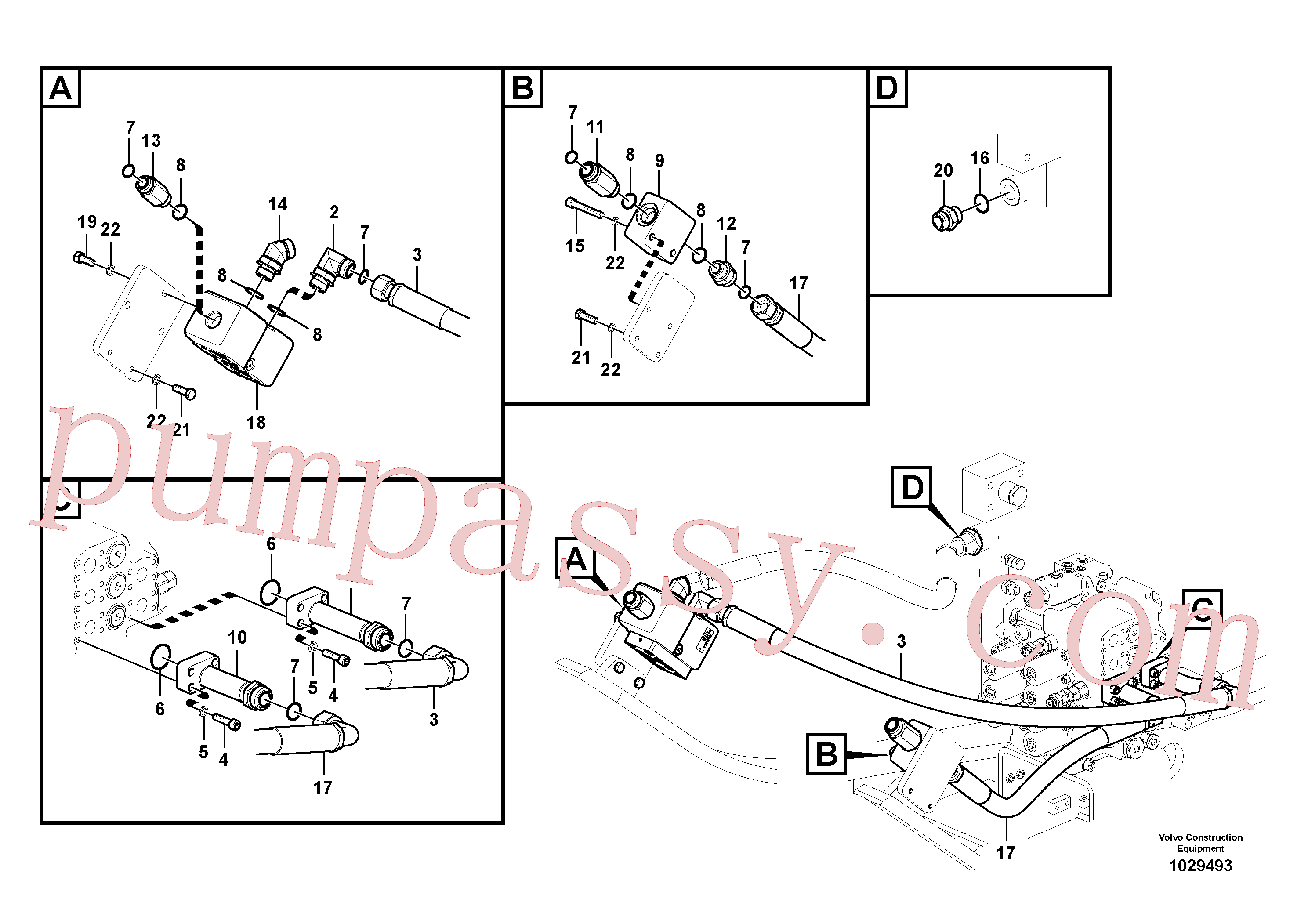 VOE991638 for Volvo Working hydraulic, hammer and shear for upper(1029493 assembly)
