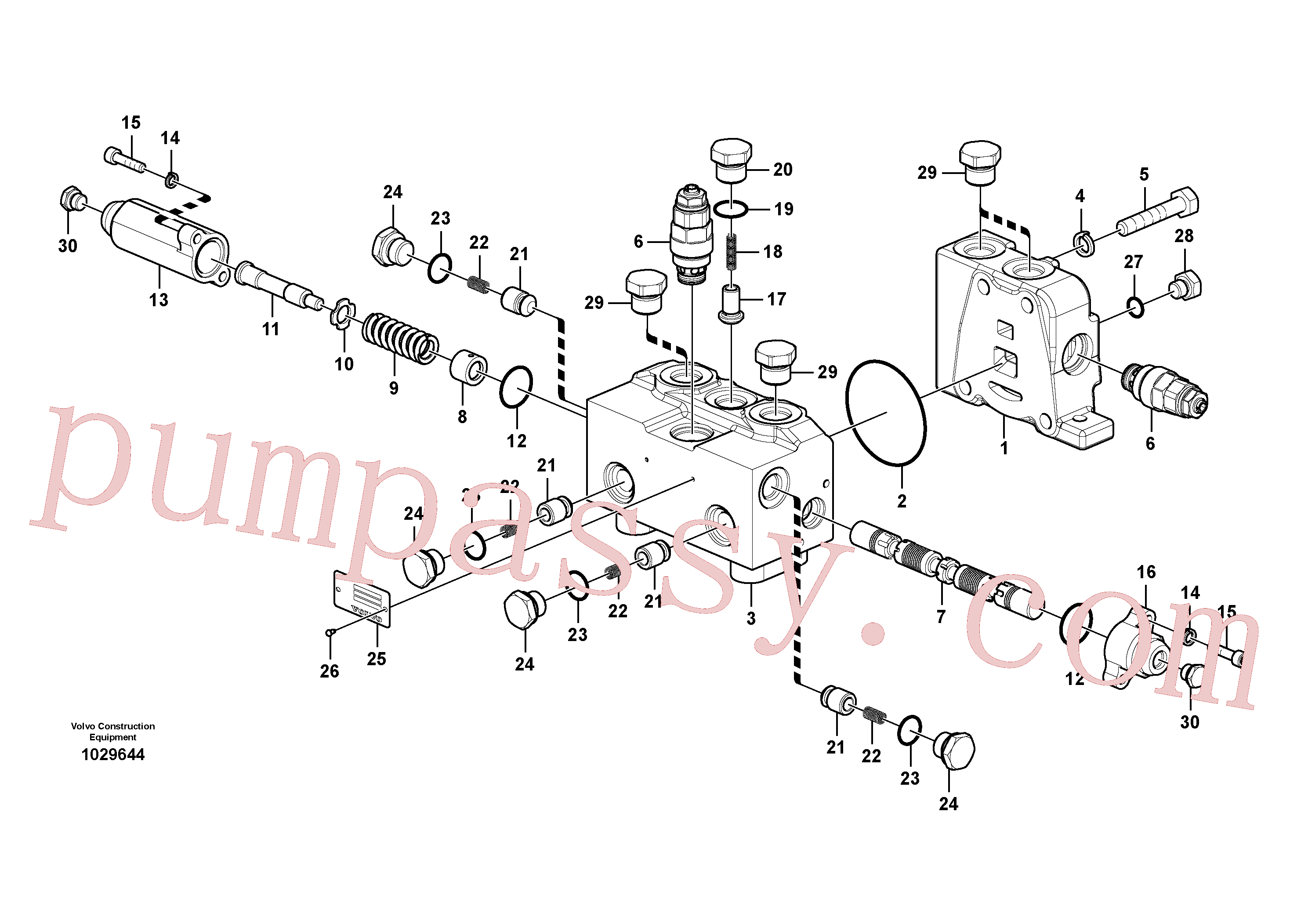 VOE14562199 for Volvo Control valve for rotator(1029644 assembly)