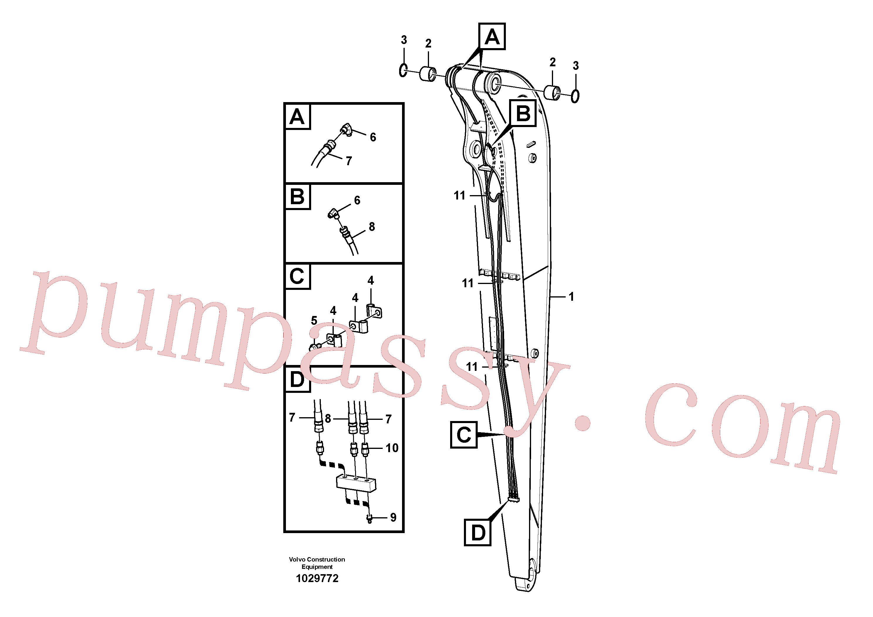 SA9315-01401 for Volvo Dipper arm and grease piping with piping seat(1029772 assembly)