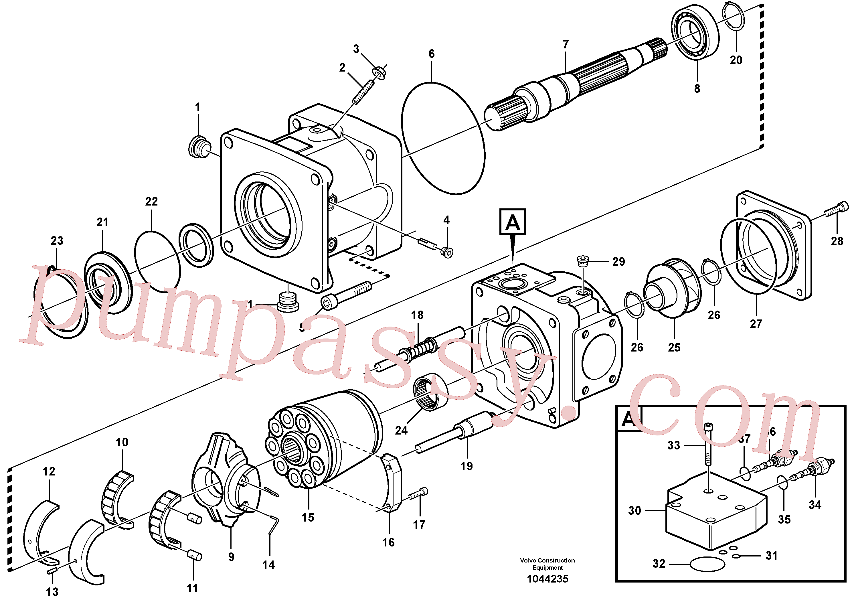 VOE4880494 for Volvo Hydraulic pump(1044235 assembly)