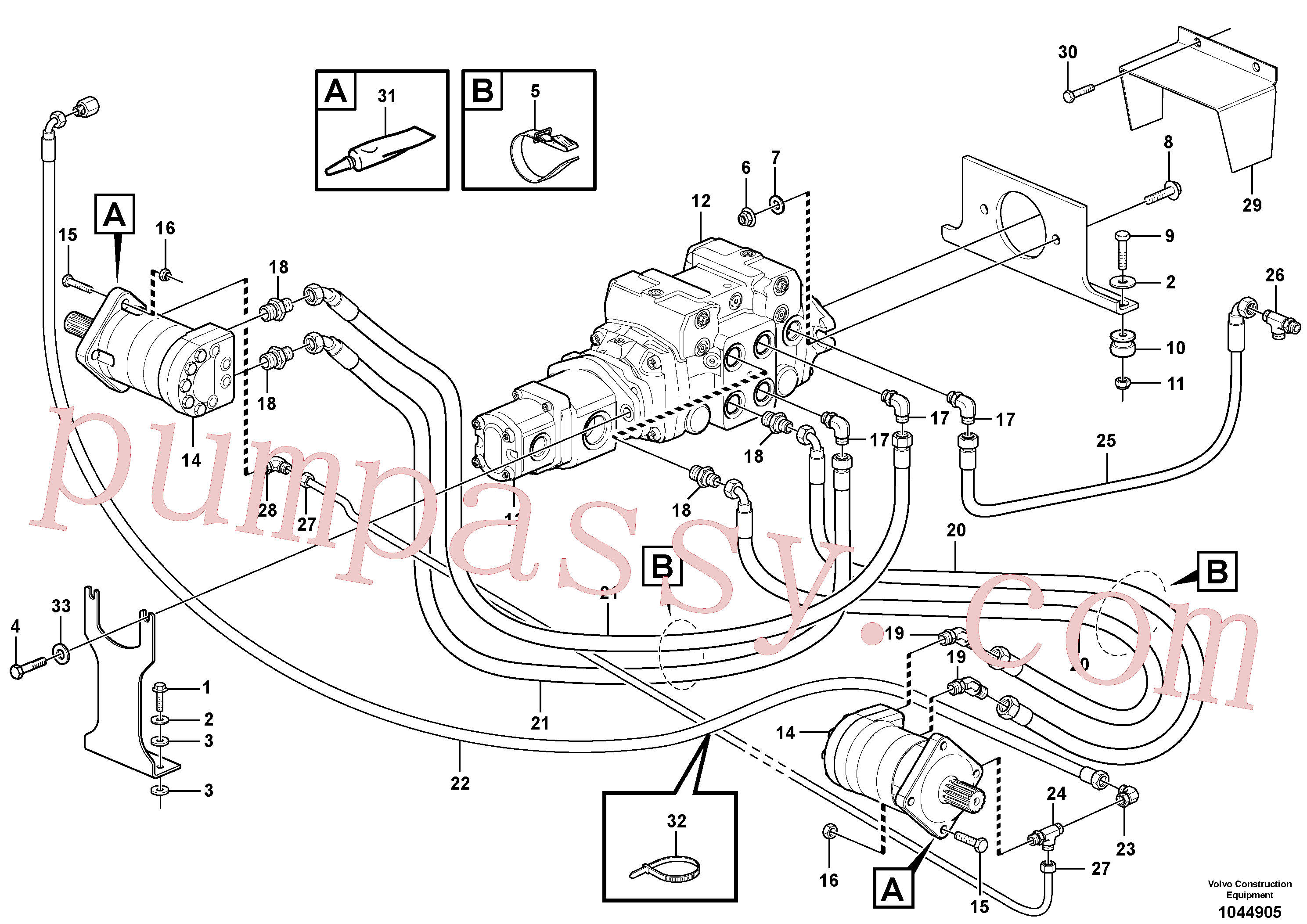 VOE11841243 for Volvo Hydraulic system Transport(1044905 assembly)