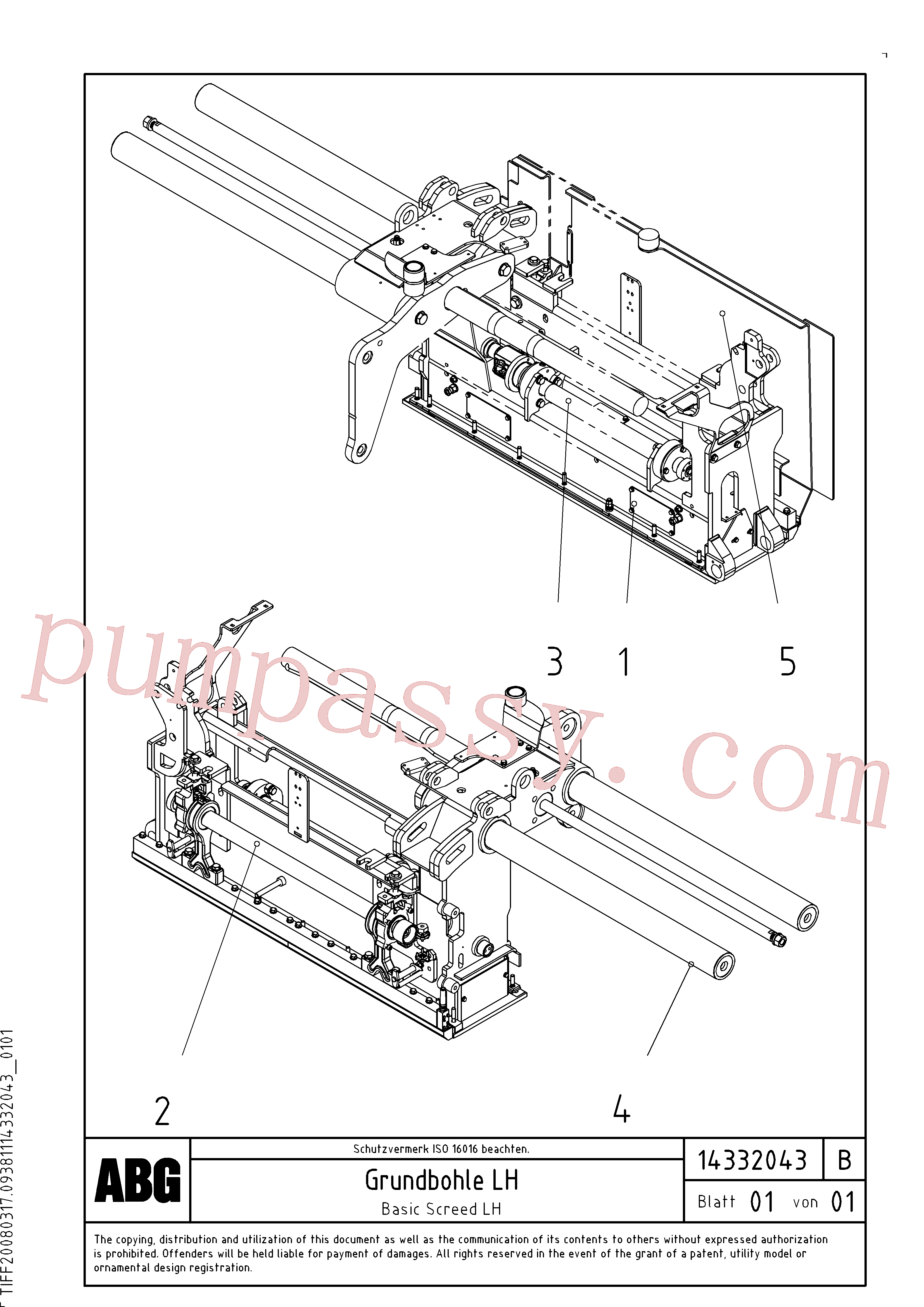 RM54543046 for Volvo Basic screed(1046368 assembly)