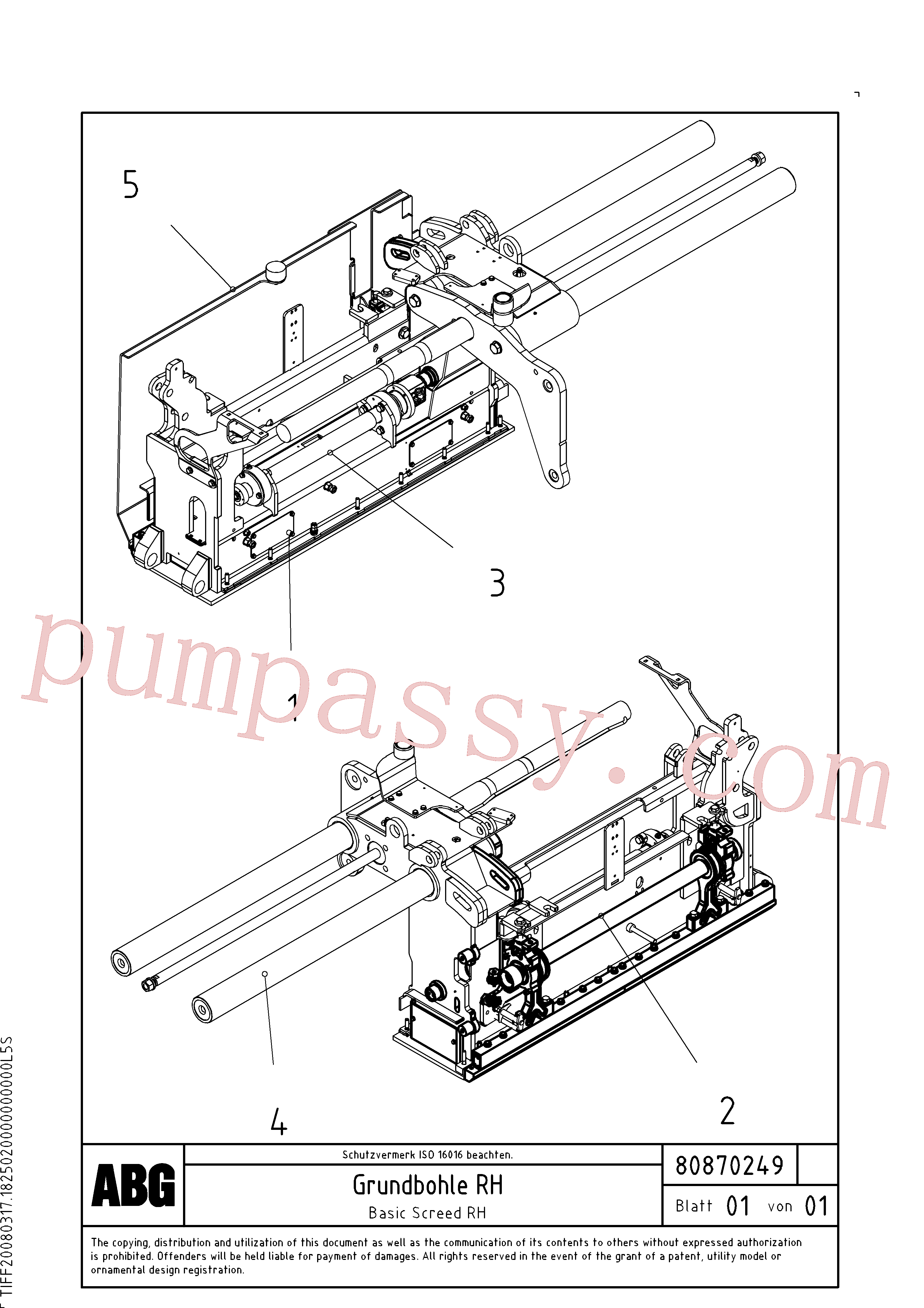 RM54543046 for Volvo Basic screed(1047787 assembly)