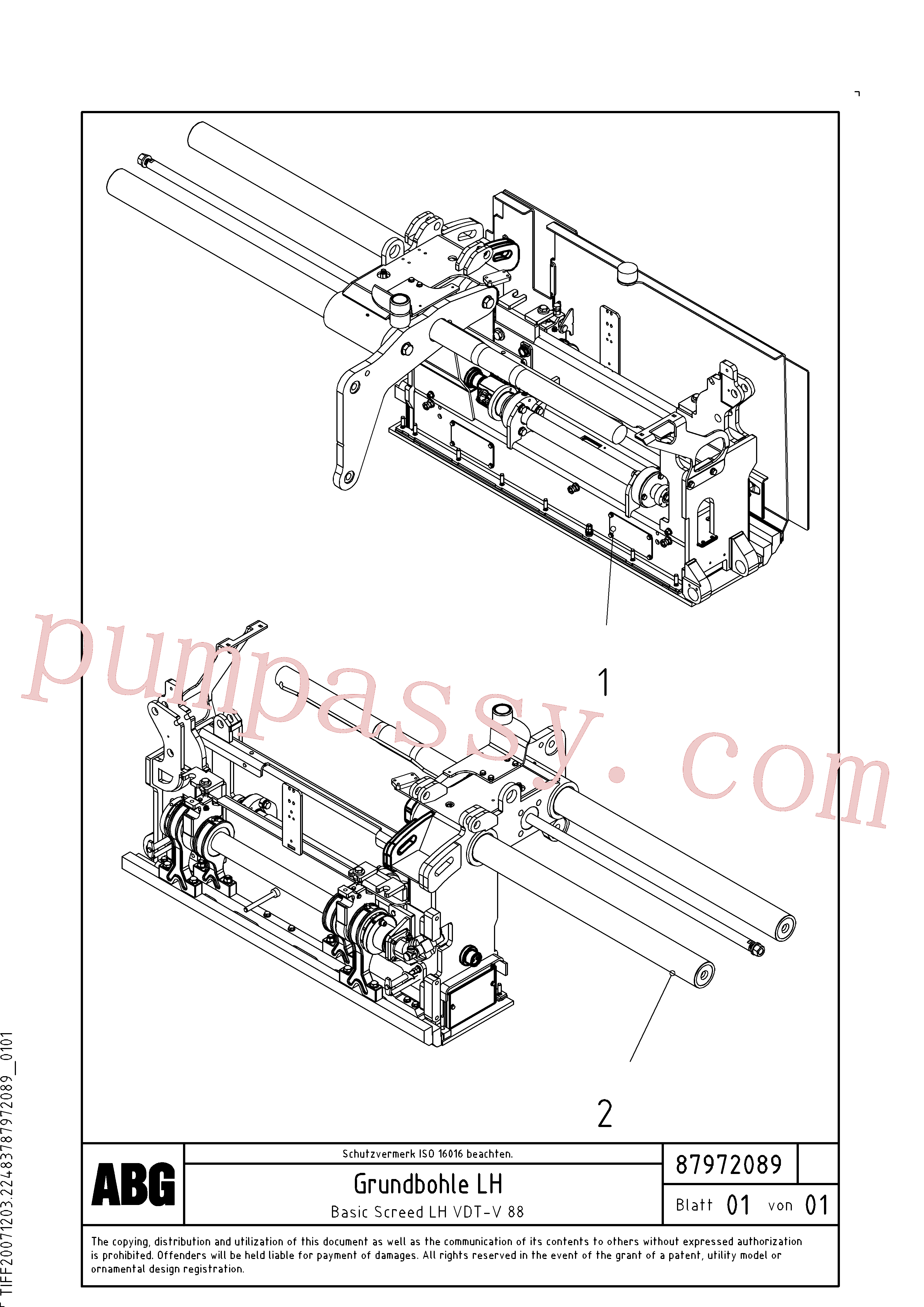 RM54543046 for Volvo Basic screed(1048165 assembly)