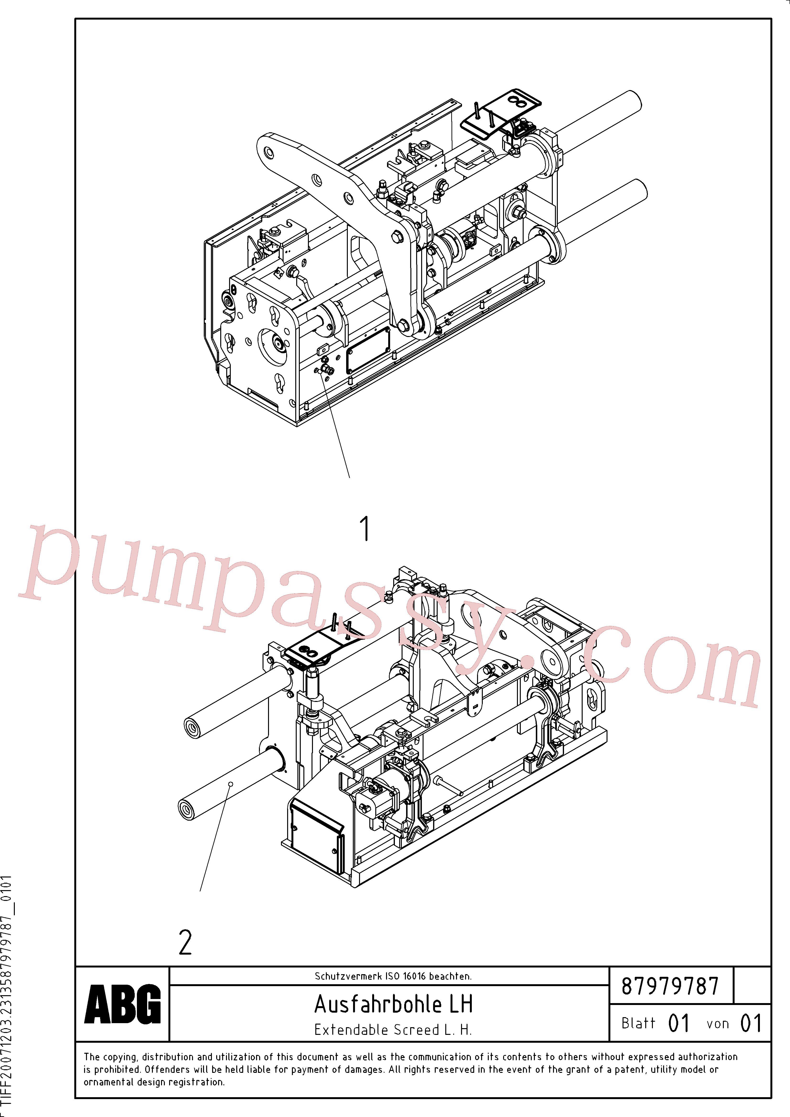 RM87944385 for Volvo Extendable screed(1048210 assembly)