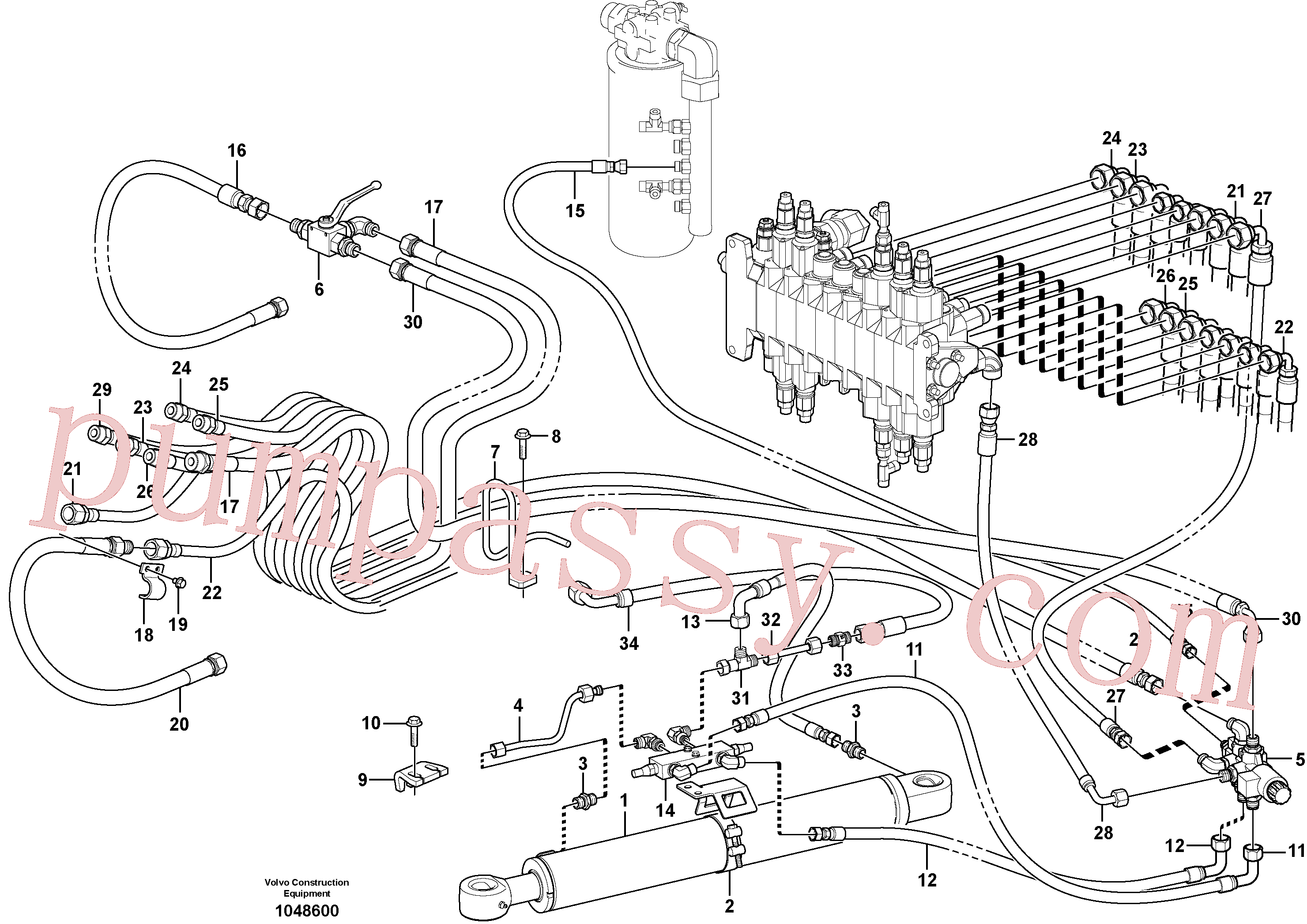VOE11807726 Hose assembly for Volvo Excavator Parts