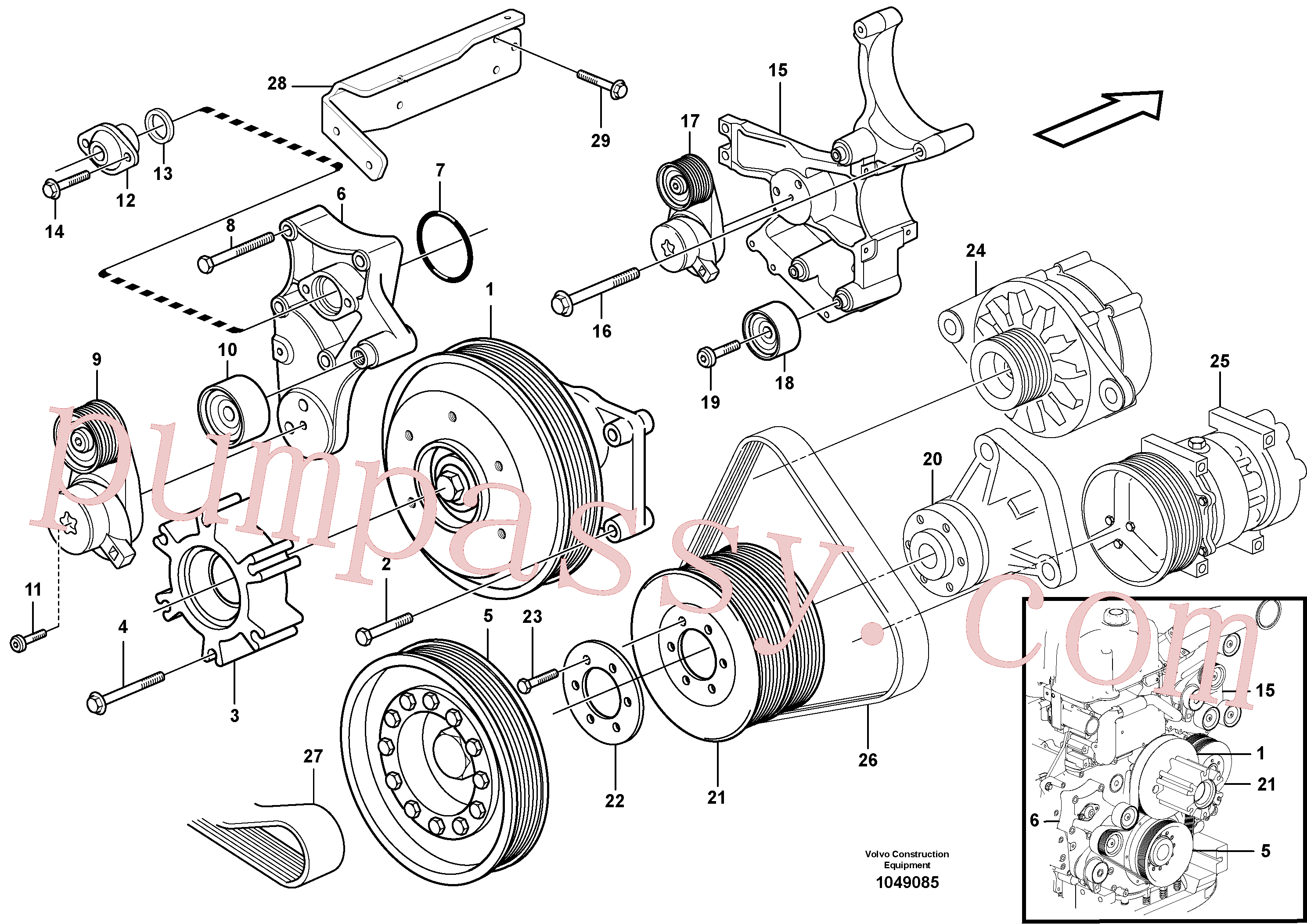VOE973967 for Volvo Belt transmission(1049085 assembly)