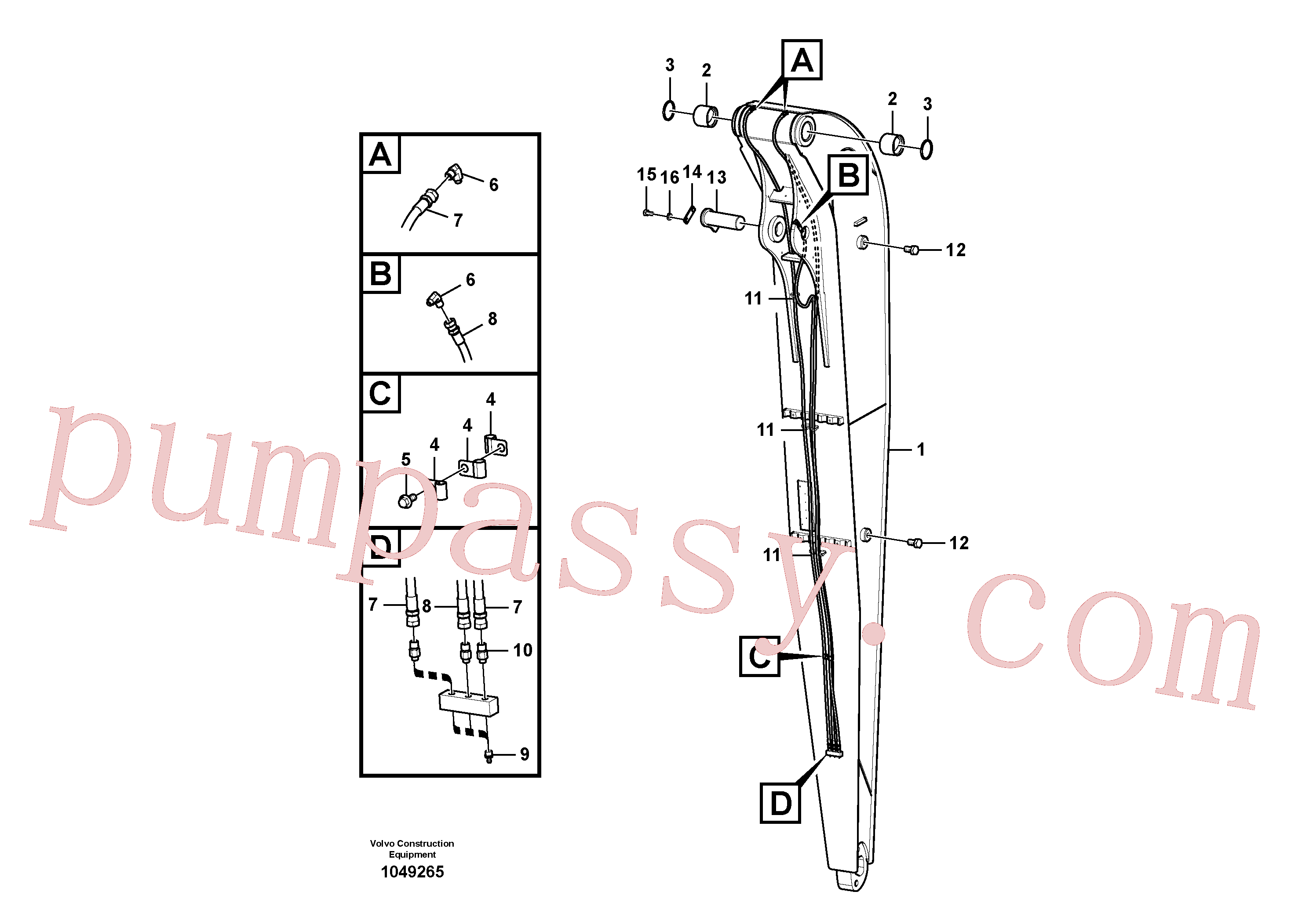 SA9315-01401 for Volvo Dipper arm and grease piping with piping seat(1049265 assembly)