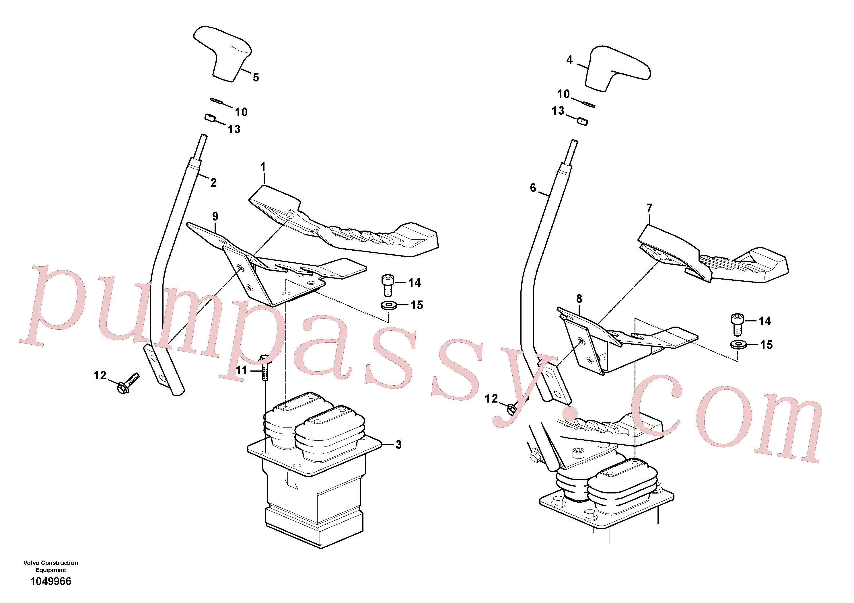 VOE14528612 for Volvo Remote control valve pedal with fitting parts(1049966 assembly)