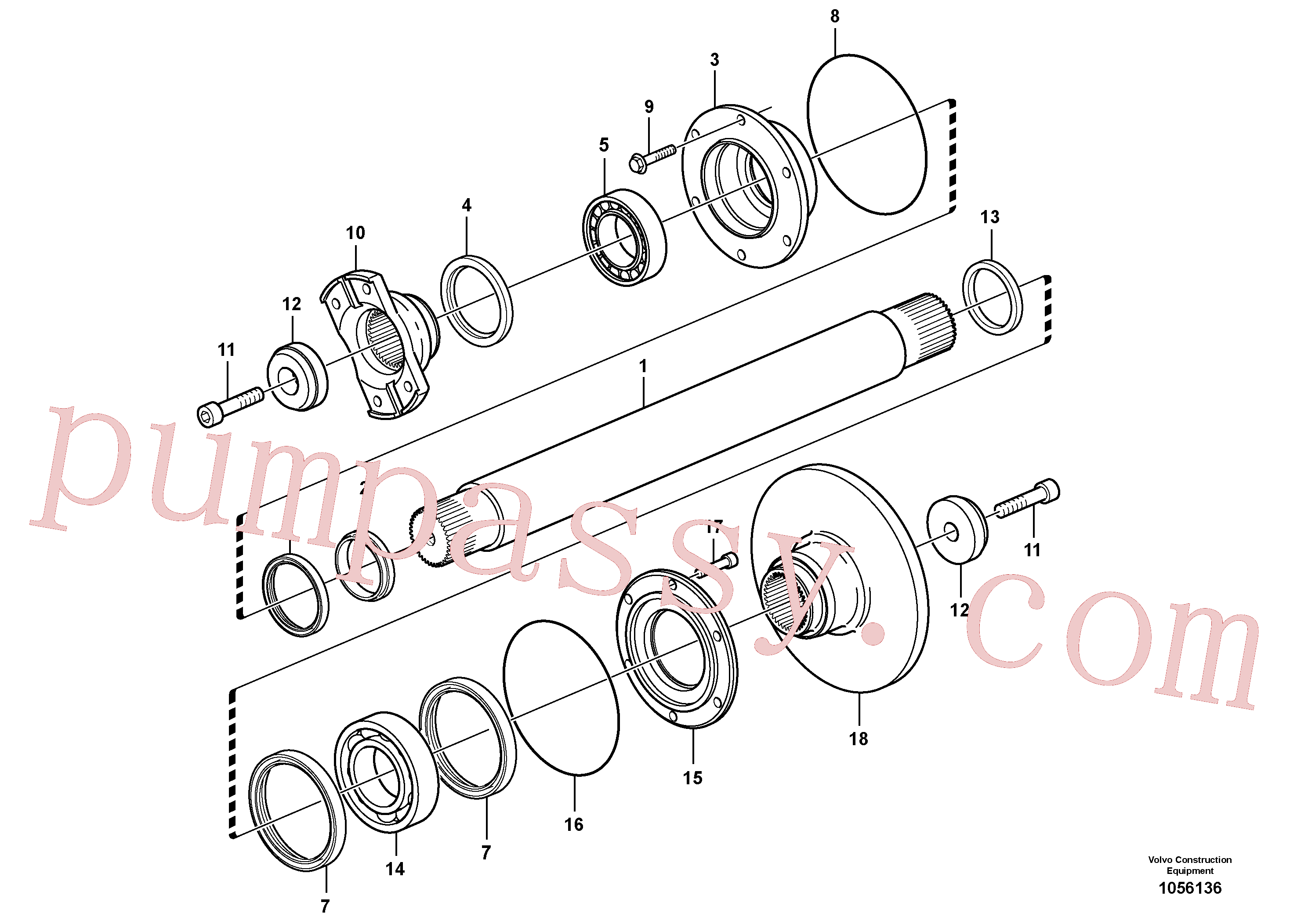 VOE11116852 for Volvo Intermediate shaft(1056136 assembly)