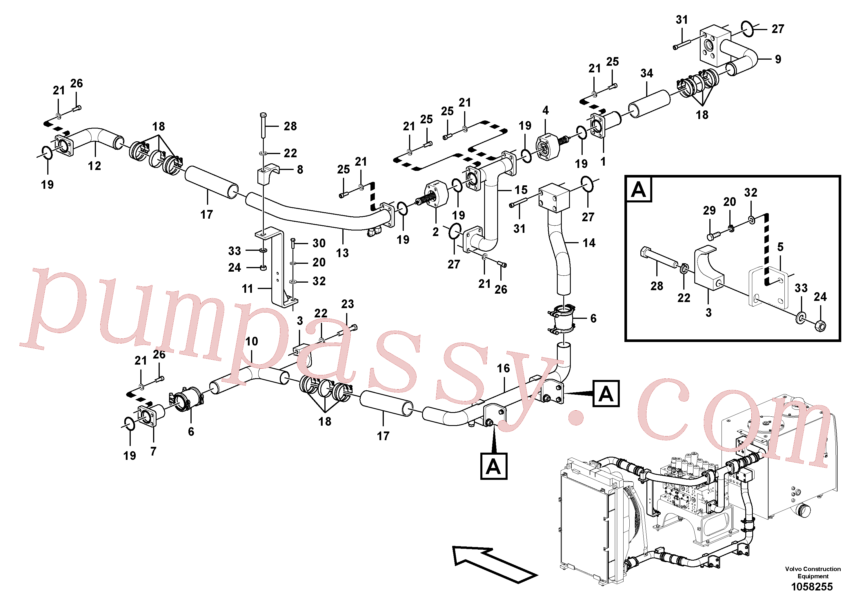 China Made VOE14608366 Pipe parts for Volvo Excavator