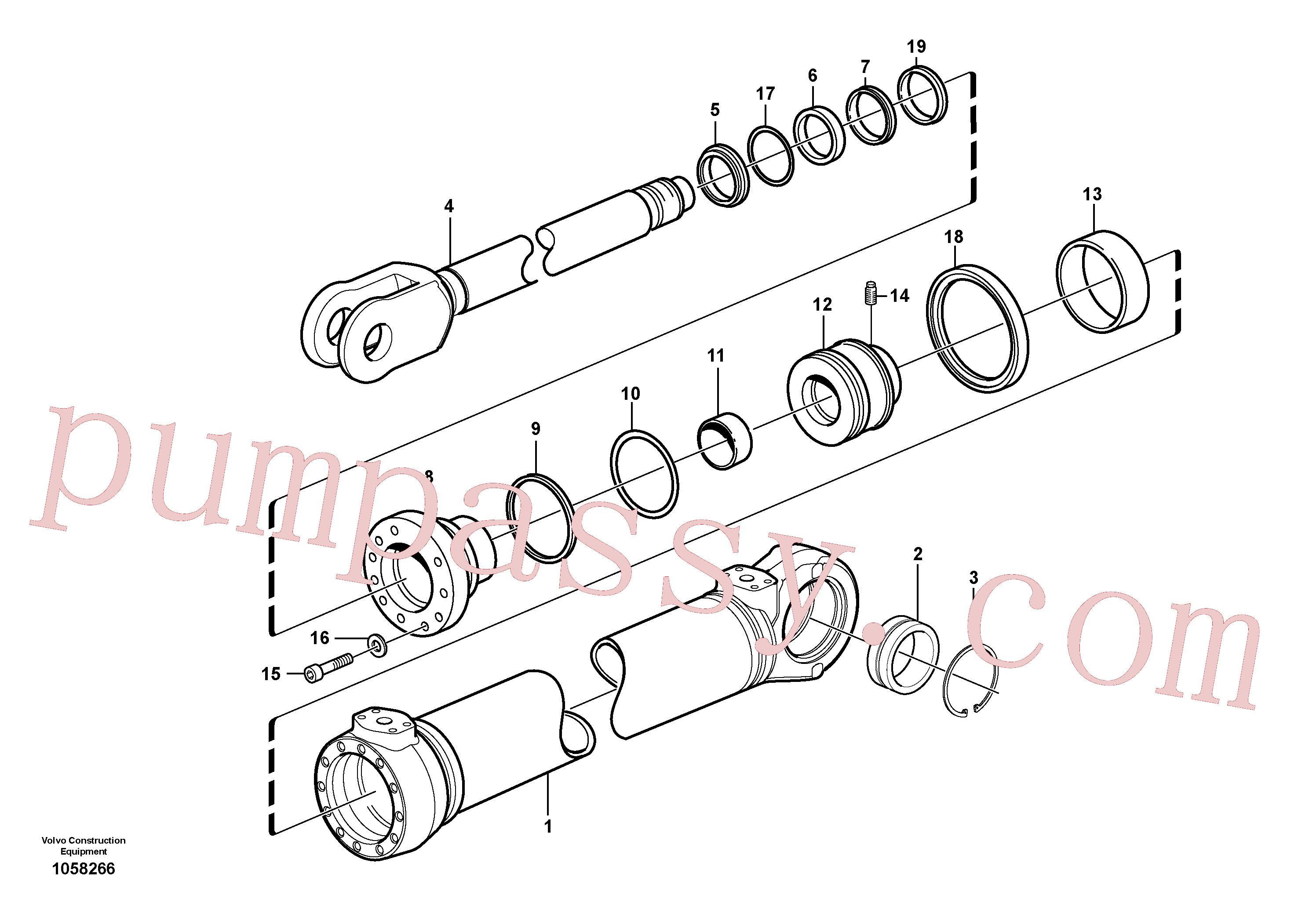 VOE11005055 for Volvo Hydraulic cylinder(1058266 assembly)