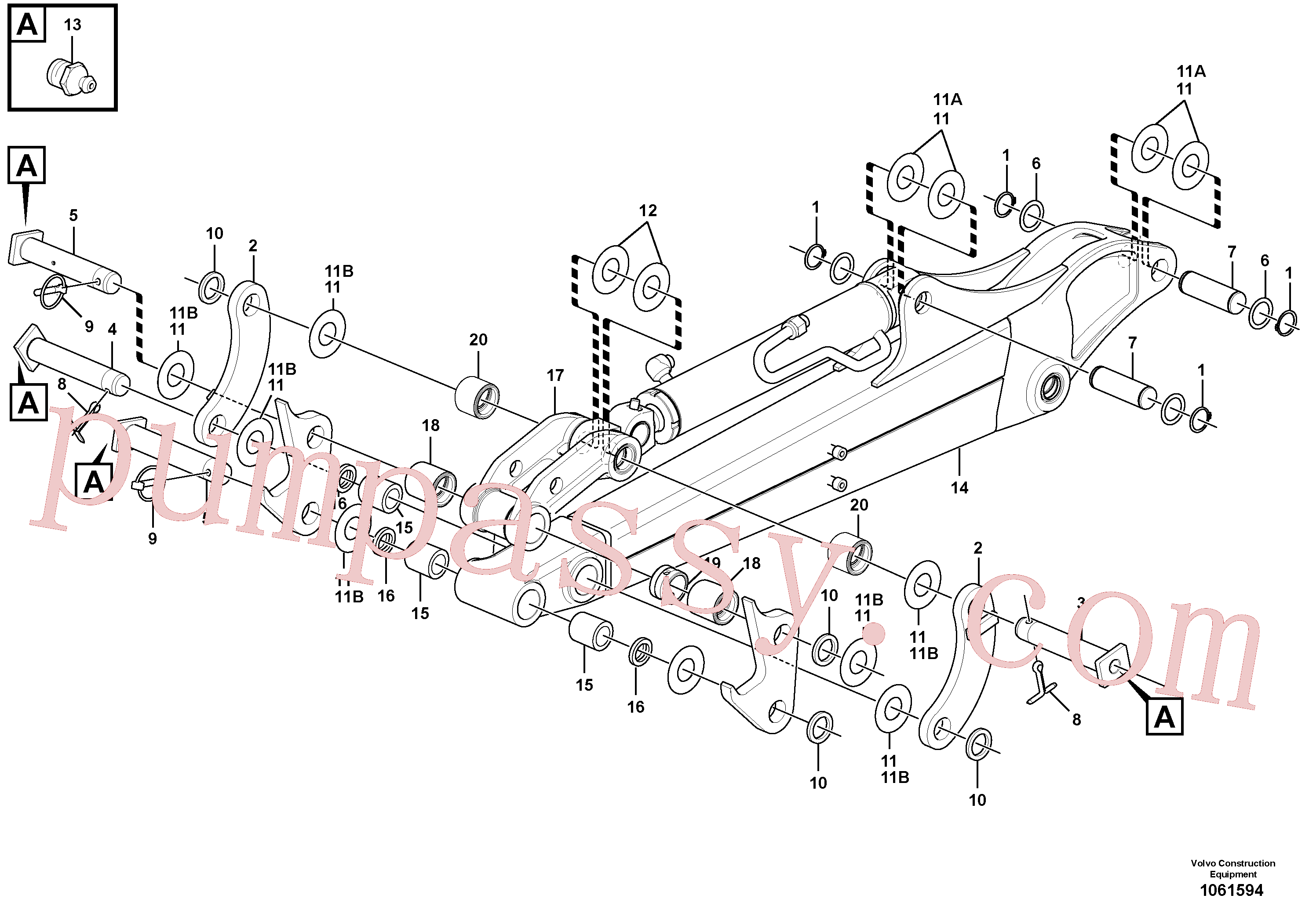 VOE11802239 for Volvo Dipper arm(1061594 assembly)