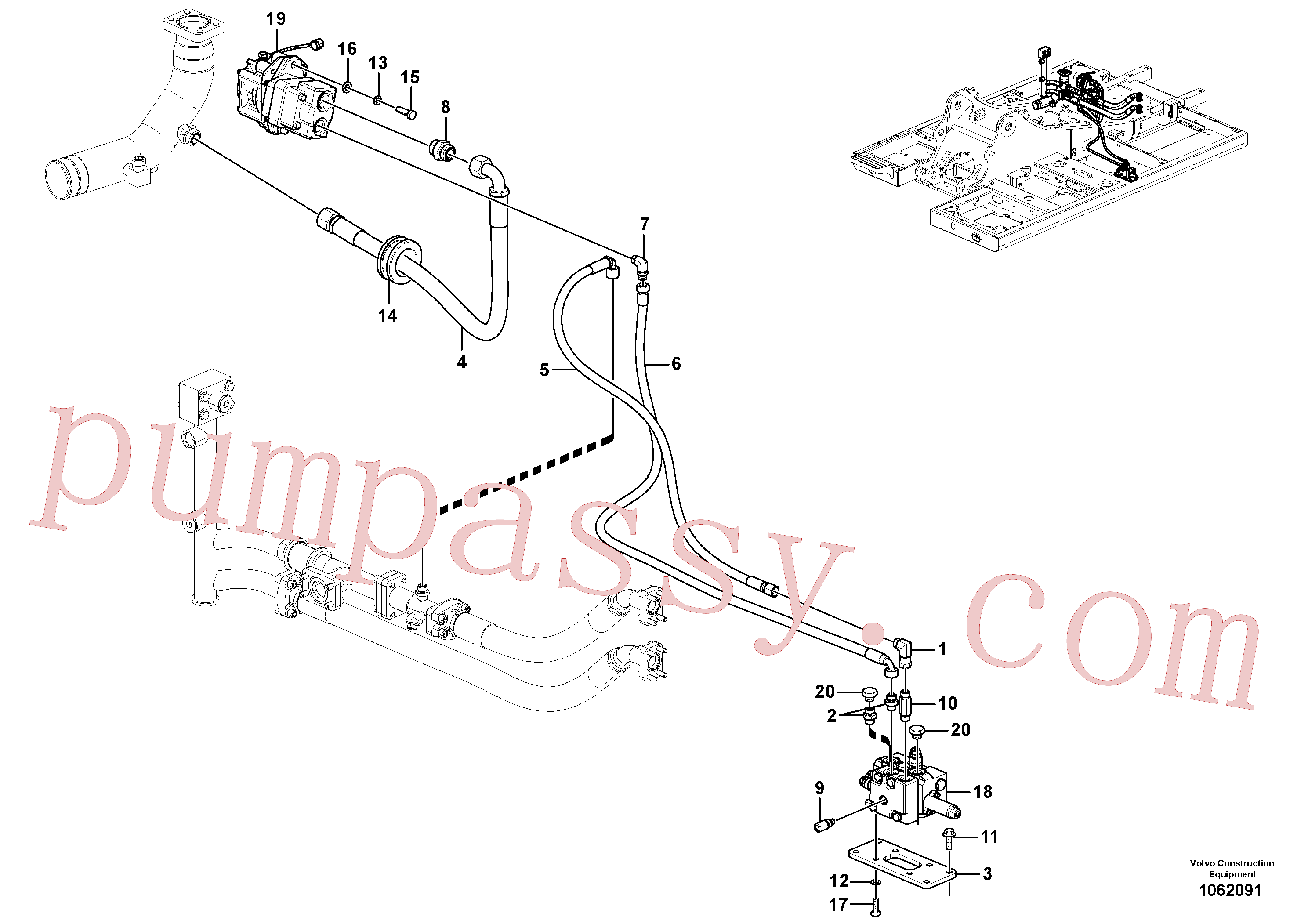 VOE17200447 for Volvo Working hydraulic, slope and rotator on upper frame(1062091 assembly)