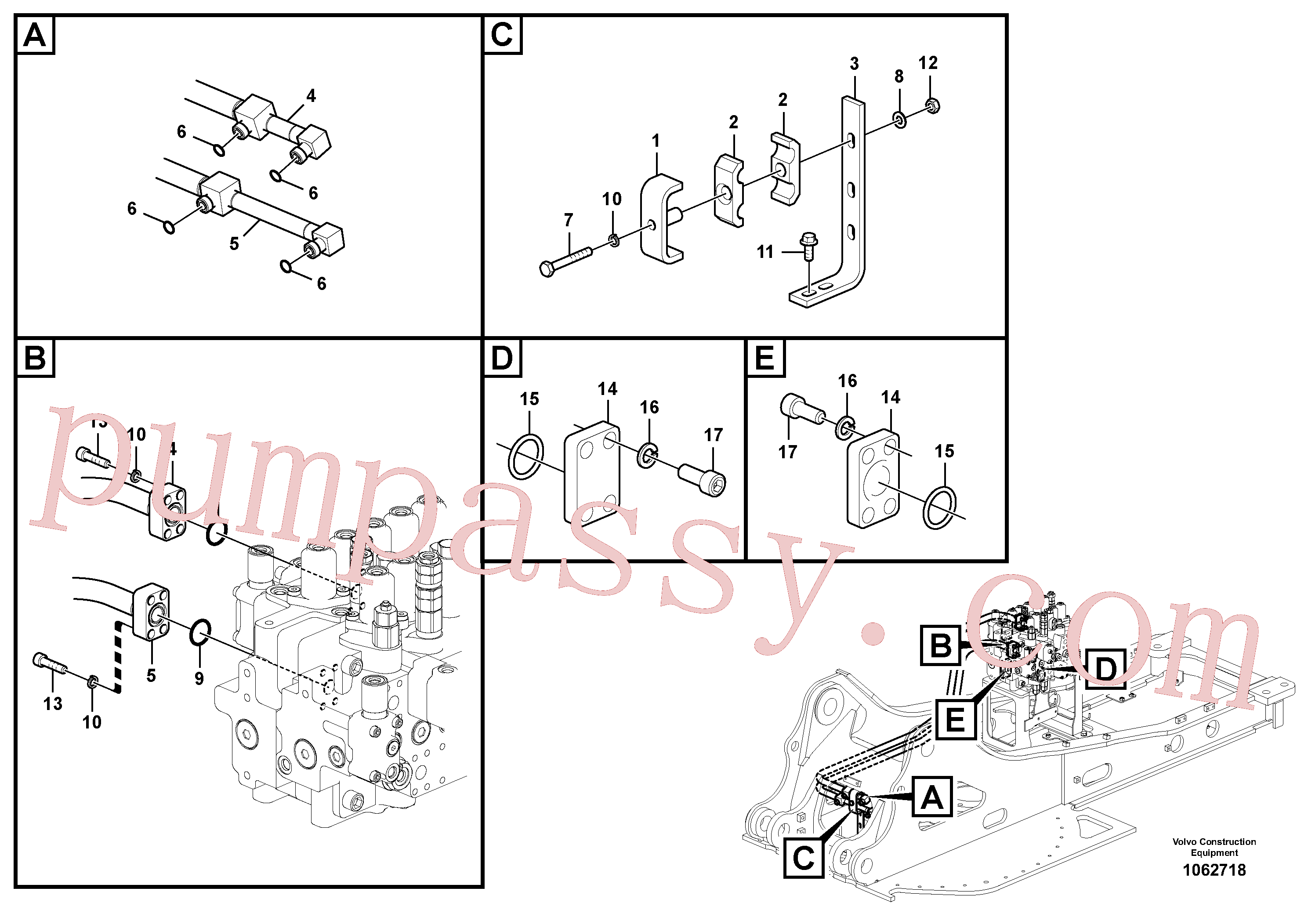 VOE14543987 for Volvo Hydraulic system, control valve to boom and swing(1062718 assembly)