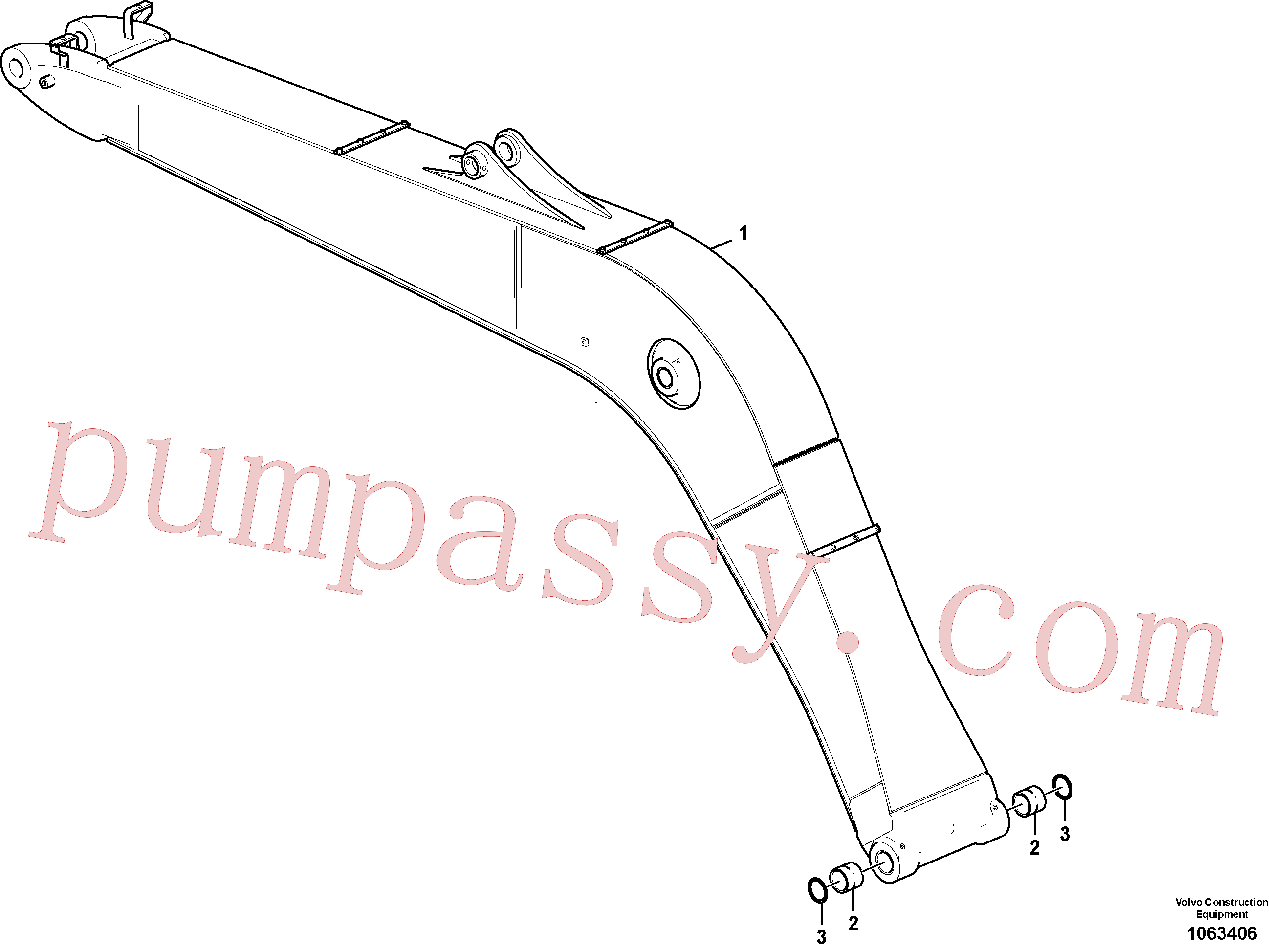 VOE14560206 for Volvo Boom, Boom and grease piping(1063406 assembly)