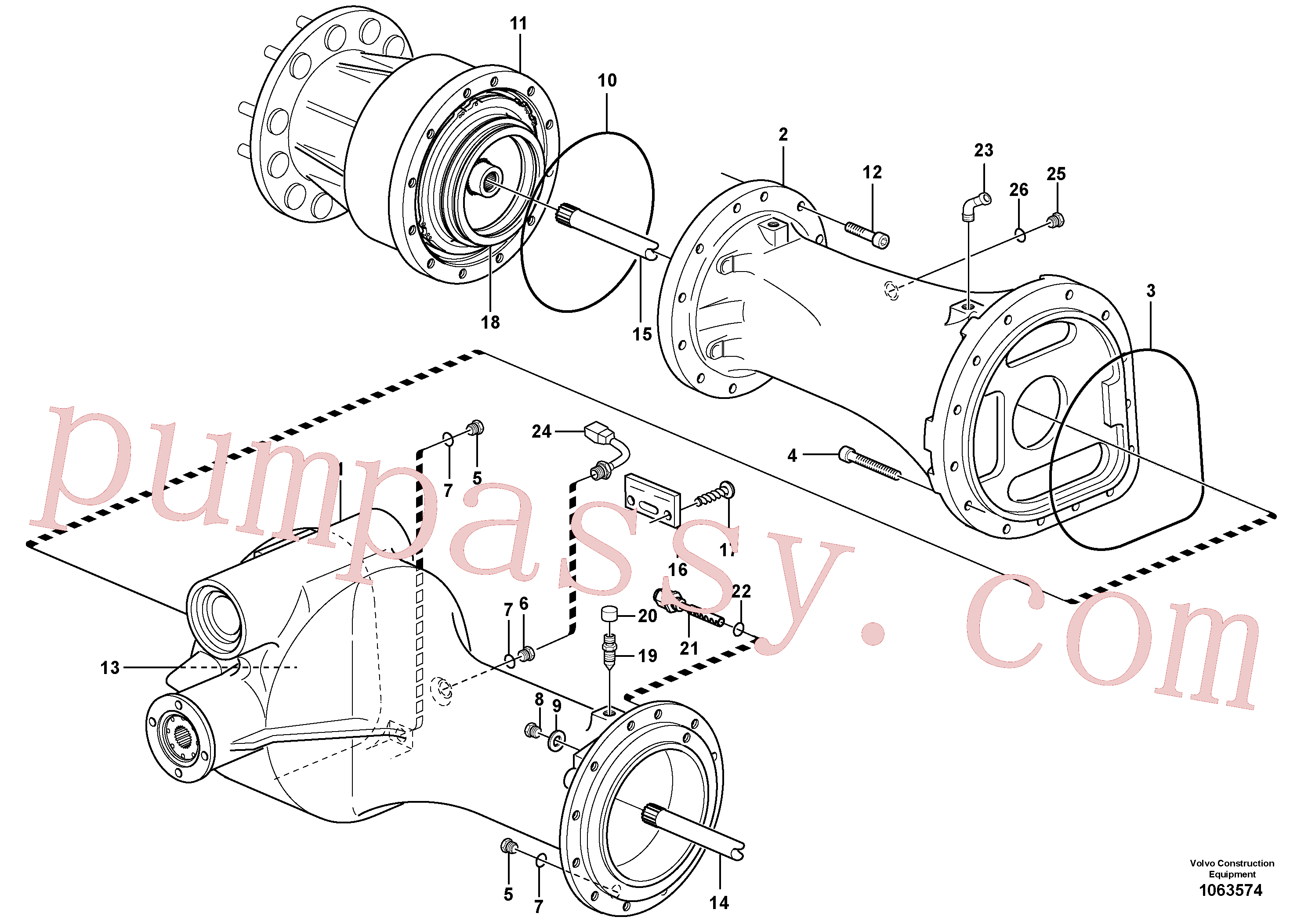 VOE11168088 for Volvo Planet shaft, rear(1063574 assembly)