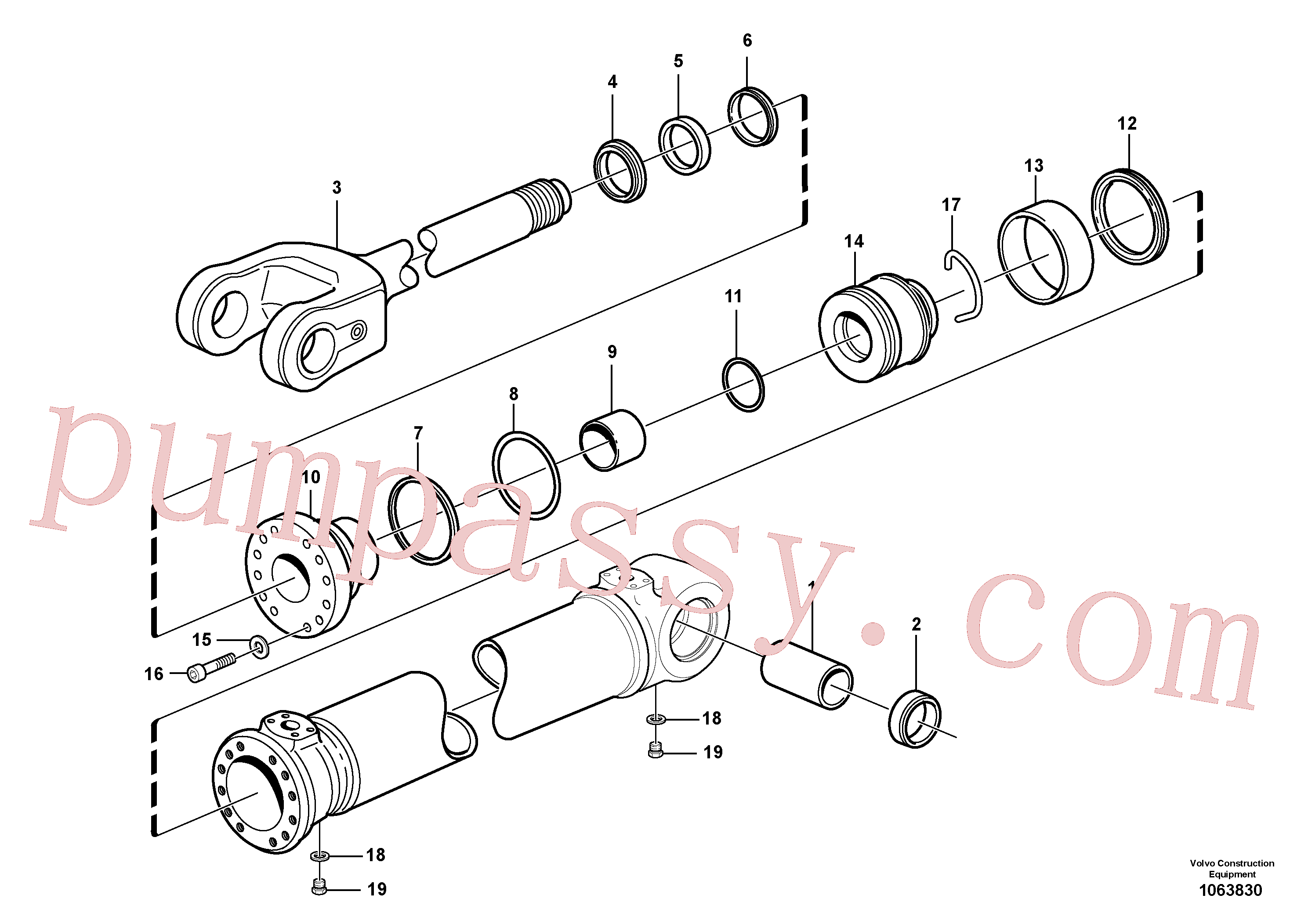 VOE14100789 for Volvo Hydraulic cylinder, lifting(1063830 assembly)